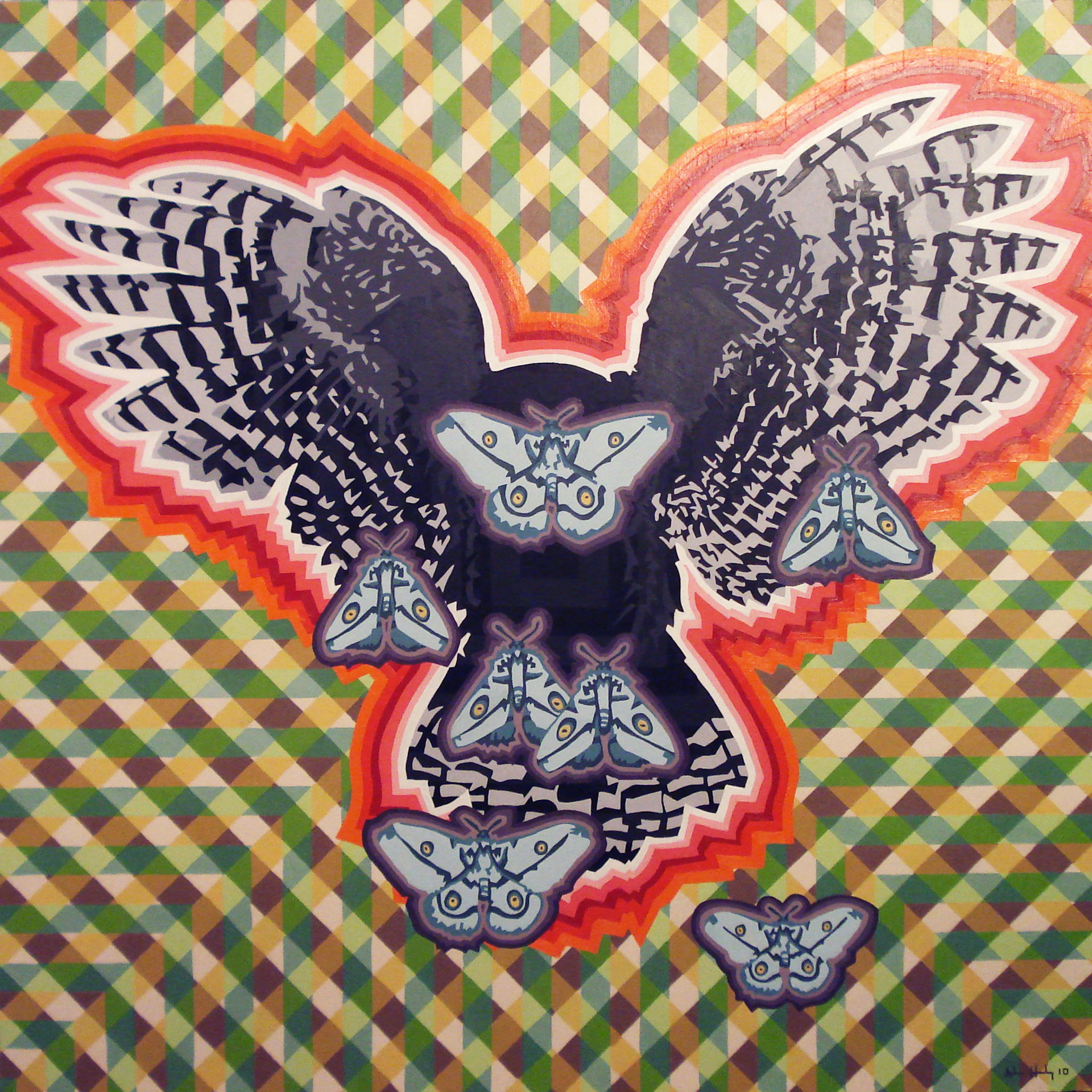 "The Greatest Generation of Owls   Acrylic on hardboard panel  36"" x 36"" 2010"