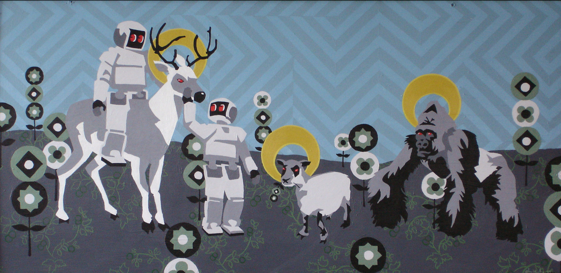 "Deer Sheep Gorilla   Acrylic on hardboard panel  12"" x 24"" 2004"