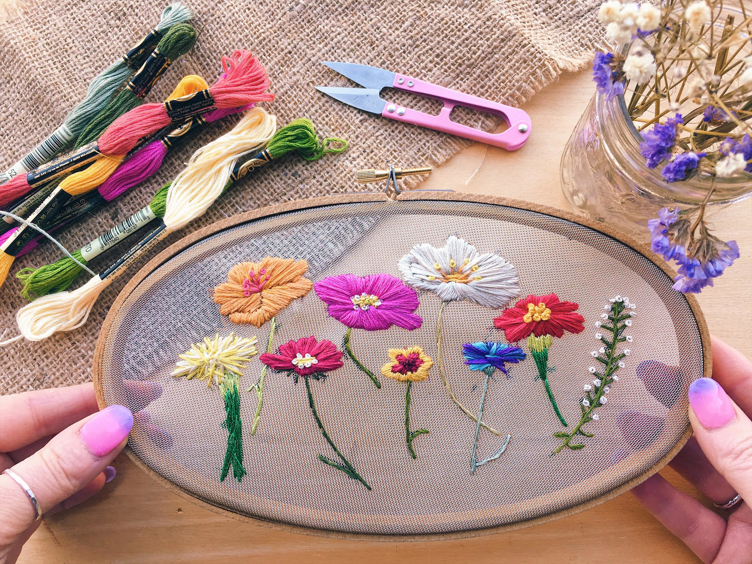 The Wildflowers . PDF Hand Embroidery Pattern — Gulush Threads