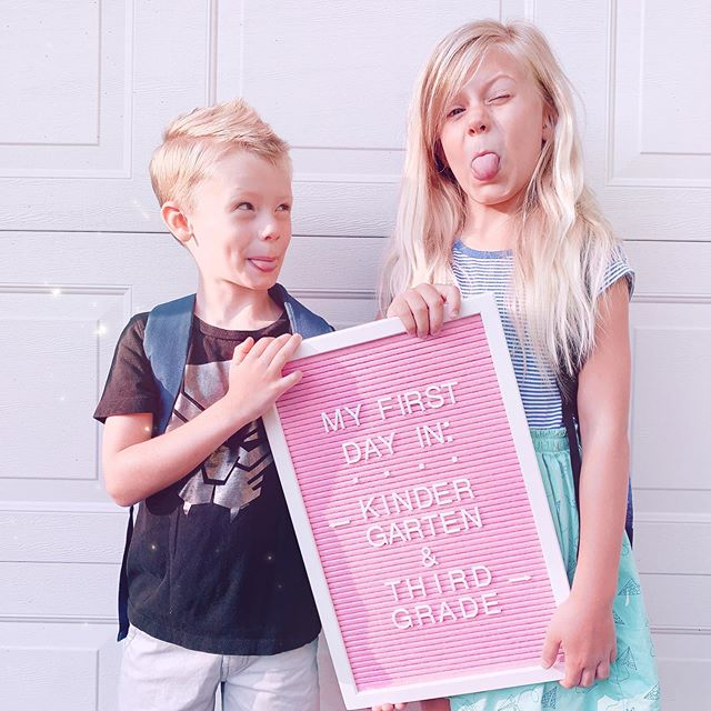 FIRST DAY OF SCHOOL = 👏🏻😭💕 (me a hot mess, that's what)! ⠀⠀⠀⠀⠀⠀⠀⠀⠀ He's going to kindergarten (& wants to be a Youtuber when he grows up just like @dannygula) while she's going into third grade (& wants to be a scientist/president/inventor/dancer/artist - all at the same time). Both are so smart & kind & funny - just the best little humans in the world (fight me about it, haha)! ⠀⠀⠀⠀⠀⠀⠀⠀⠀ Swipe to see their photo from last year, swipe again for another photo from this morning, & then swipe AGAIN to see my reaction to dropping them off (for some reason LADY GAGA was playing on the school's sound system as I was leaving, I know - completely random, but I kind of loved it)! ⠀⠀⠀⠀⠀⠀⠀⠀⠀ When do your littles go back to school?