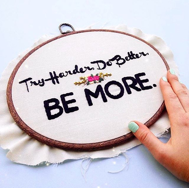 "Four years ago, I posted this and wrote this: ⠀⠀⠀⠀⠀⠀⠀⠀⠀ ""A year ago, I made this hoop for the first time. I said to myself then, ""Where is this business even going?"" Today, I am packing my bags for San Fransisco (for the most awesome thing, I cannot wait to share with you guys) // Moral of this very short, but awesome story: Don't doubt yourself. Ever. And don't question your gut. If you are passionate about something, really truly passionate and organic about it, and put your all into it, good things will happen. It may take awhile, but it will happen. Promise!!!"" ⠀⠀⠀⠀⠀⠀⠀⠀⠀ Five years ago, I made this custom for the same friend who gave me an embroidery hoop (as a gift) that started it all! Did I know then that I would still be here, getting stitchy with all of you? No I did not, but I'm so very glad (& grateful) that I am! ⠀⠀⠀⠀⠀⠀⠀⠀⠀ So, today's moral of the story: Don't doubt yourself today, tomorrow, or ever, friends! Run towards your dreams and dodge all the self-doubt on the way. Make sure to never let anyone tell you that you can't pursue the things that make you happy! And just MAKE CREATE DO! That's what I'm doing (& I've never been happier or more fulfilled)! ⠀⠀⠀⠀⠀⠀⠀⠀⠀ What are you making, creating, doing this weekend?"