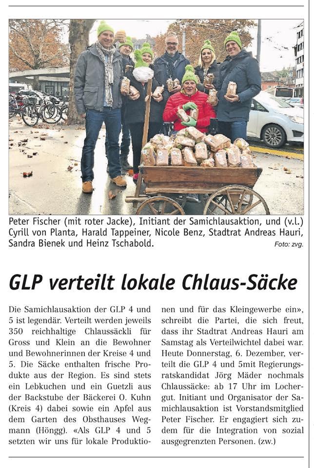 Artikel des lokalinfo.ch Zürich West zur Samichlausaktion der glp 4&5.