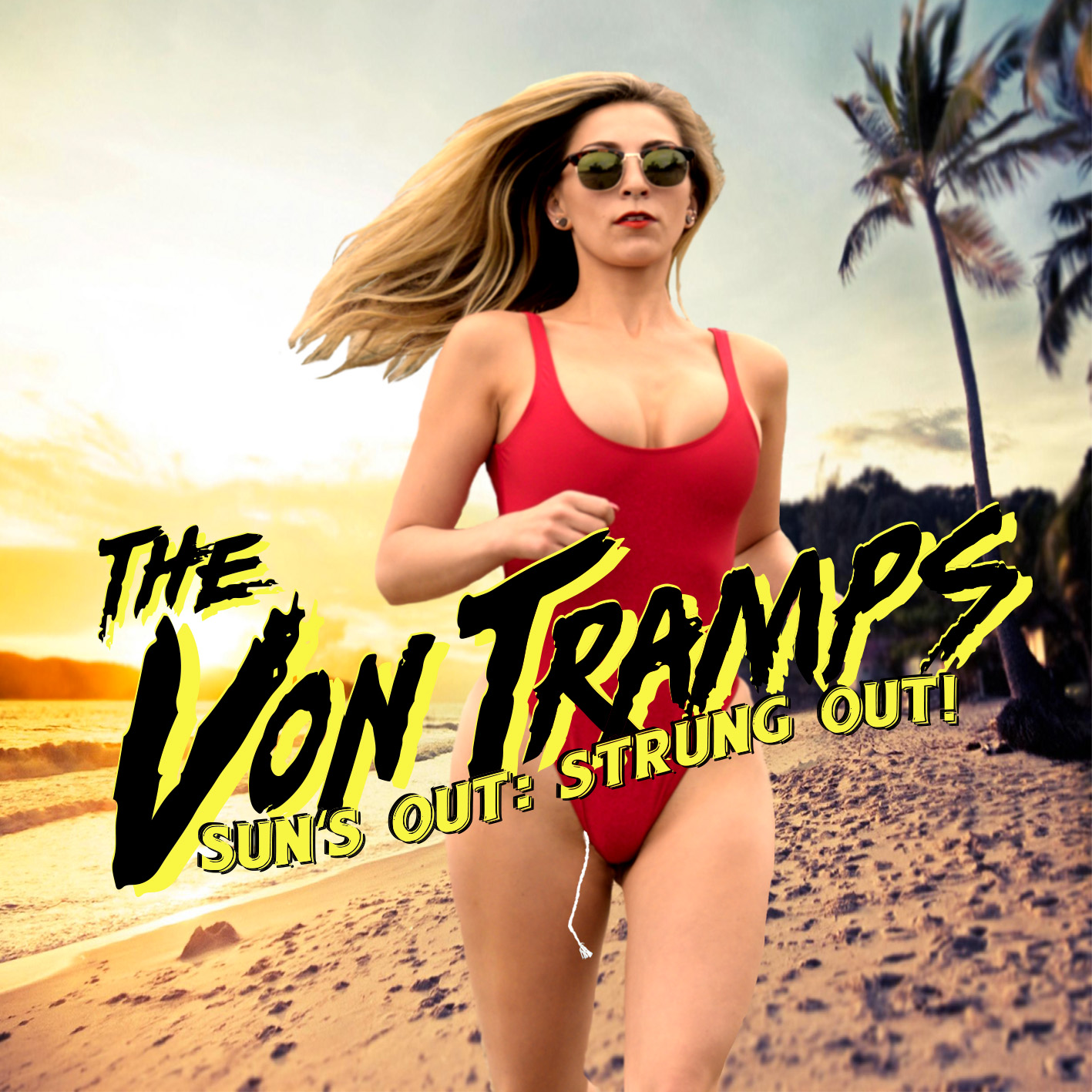 """Album cover for The Von Tramps' """"Sun's Out, Strung Out!"""""""