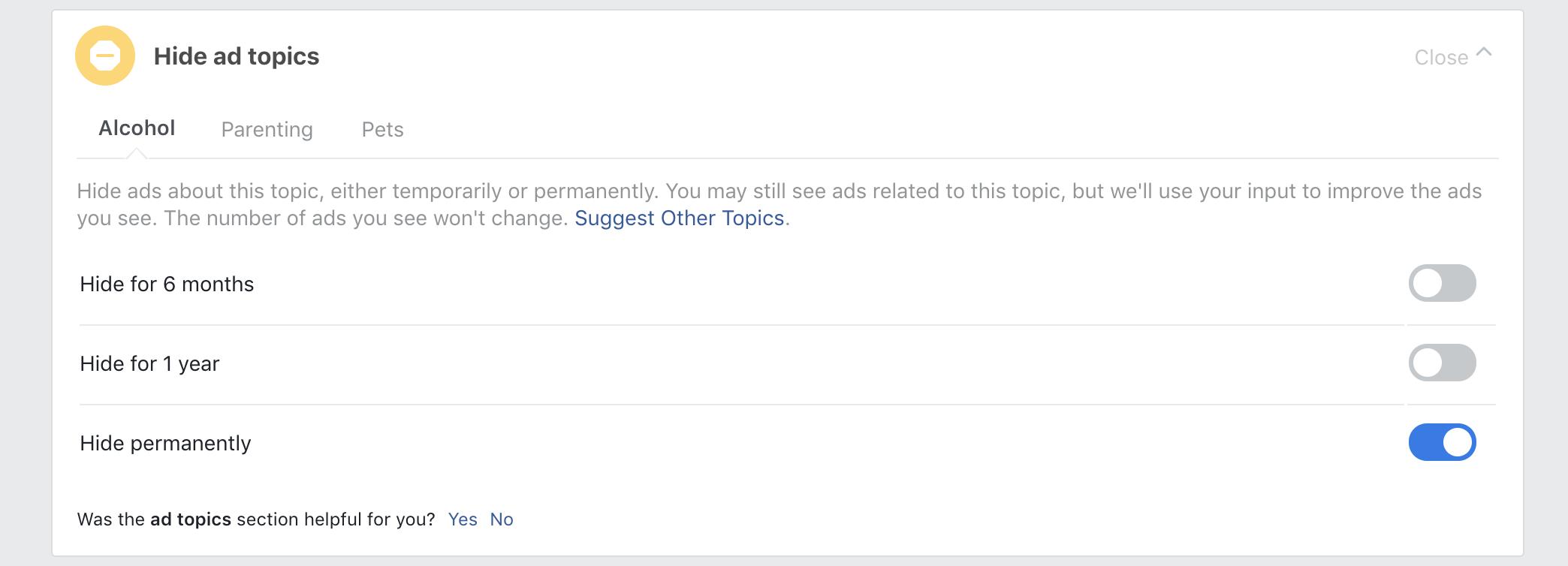 Hiding Facebook Ad Topics