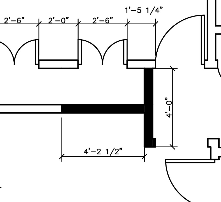 Construction Plan - A floorplan showing new walls with the use of poche walls.Poche - Solid hatch of walls.