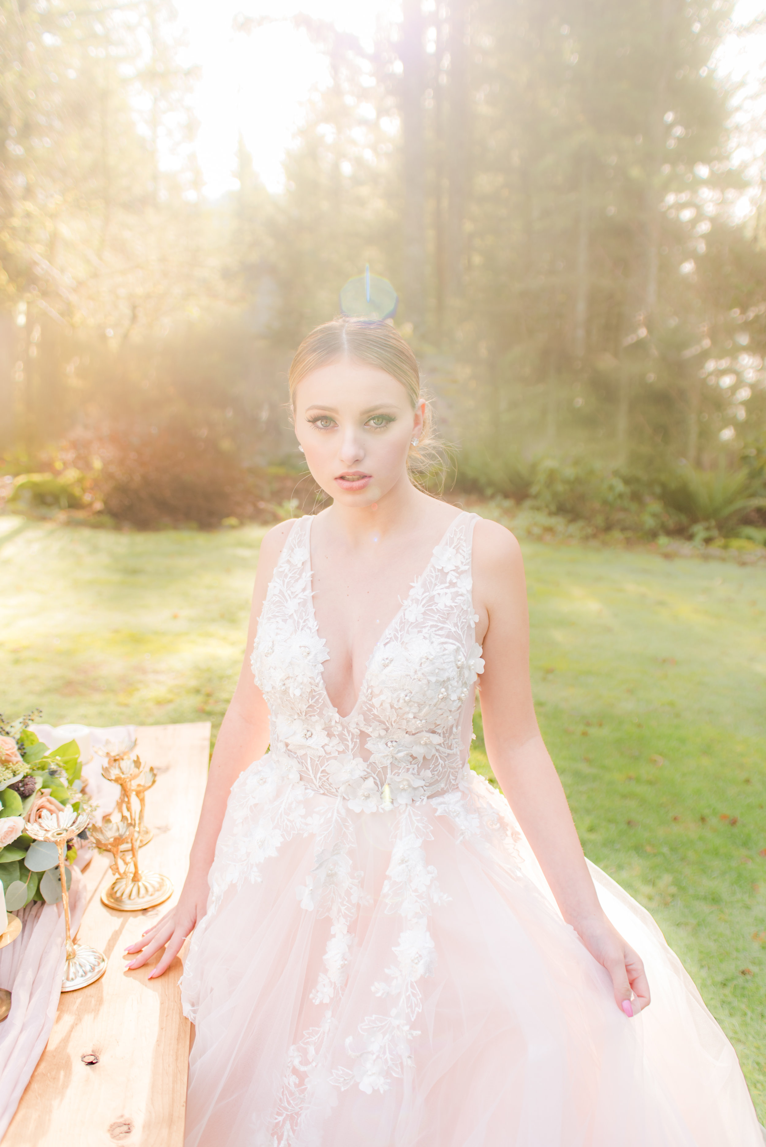 bride models in sunshine