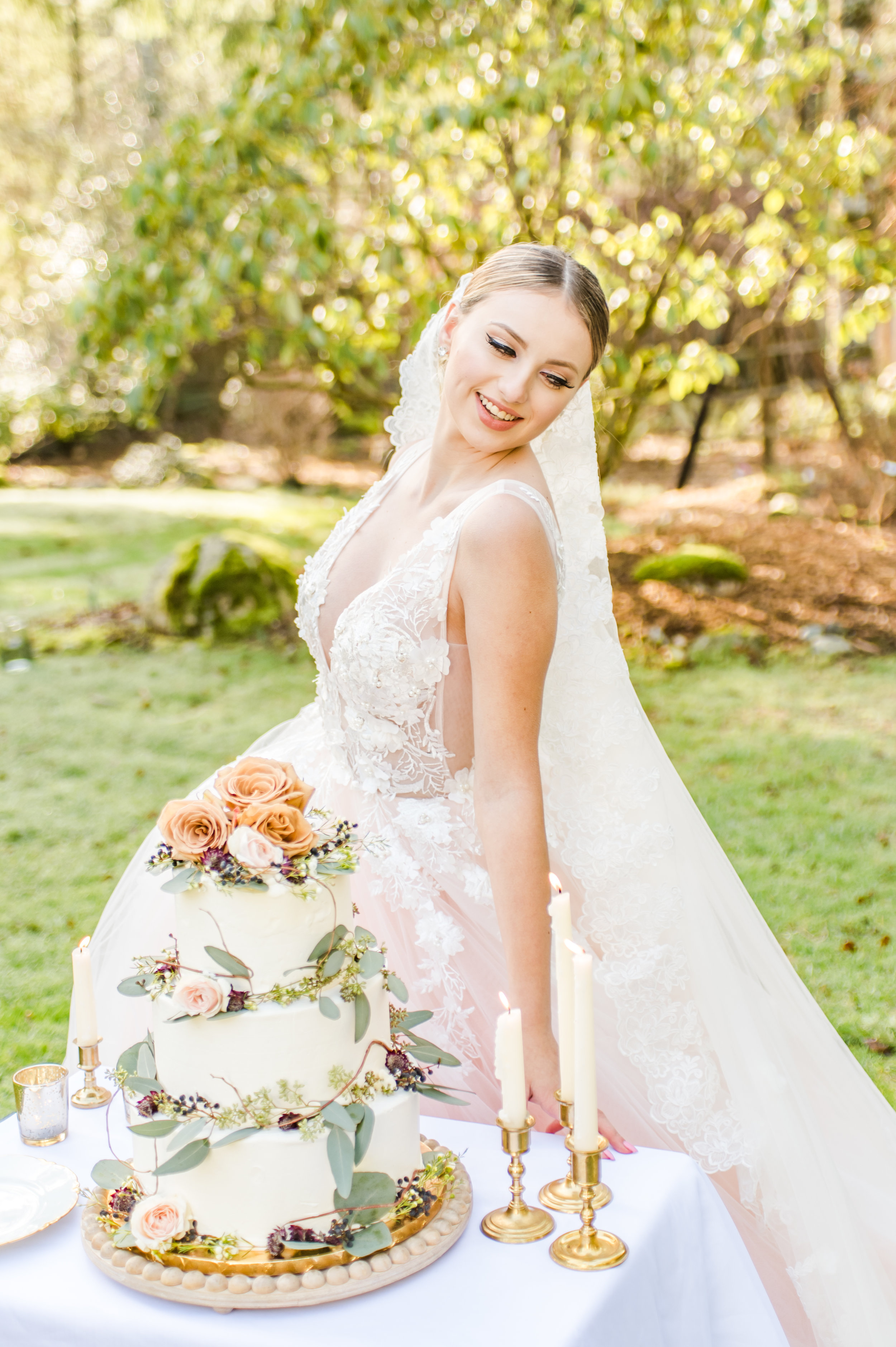 Bride models with wedding cake