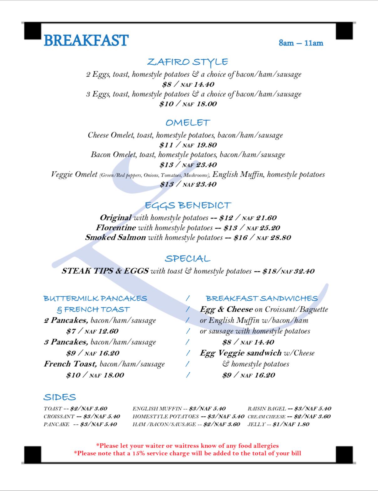 Click To view full breakfast menu