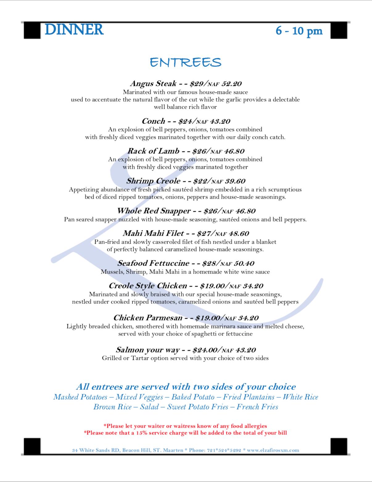 click to view full Dinner menu