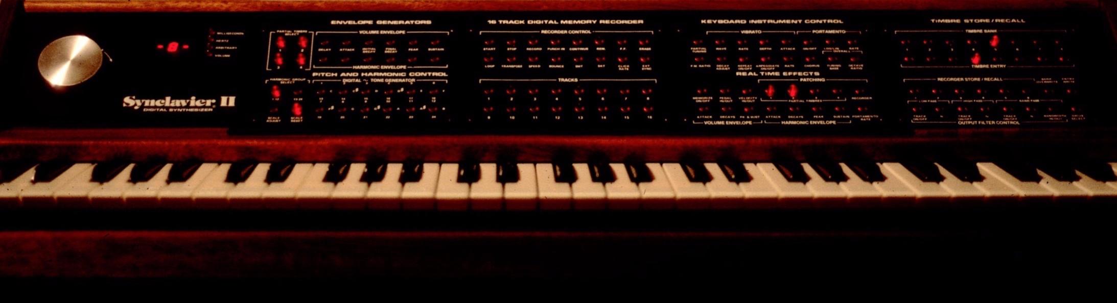 Original Synclavier mahogany keyboard.