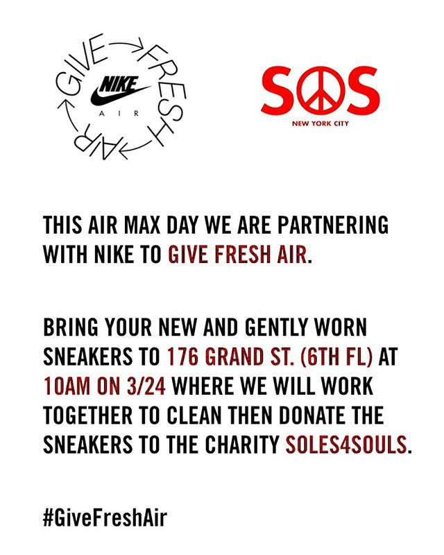 @systemofservice x @nikenyc  With Spring cleaning right around the corner, we'll be partnering up with @nikenyc to Give Fresh Air as a lead up to Air Max Day this Sunday, from 10-1 PM. Rather than throwing away the sneakers you no longer want, bring your new and gently worn sneakers where we will work together to clean and repackage the sneakers to the non profit @soles4souls! Join us in creating new opportunities to those in need through the power of shoes. #givefreshair  DM to confirm your attendance if interested! 👟‼️❤️