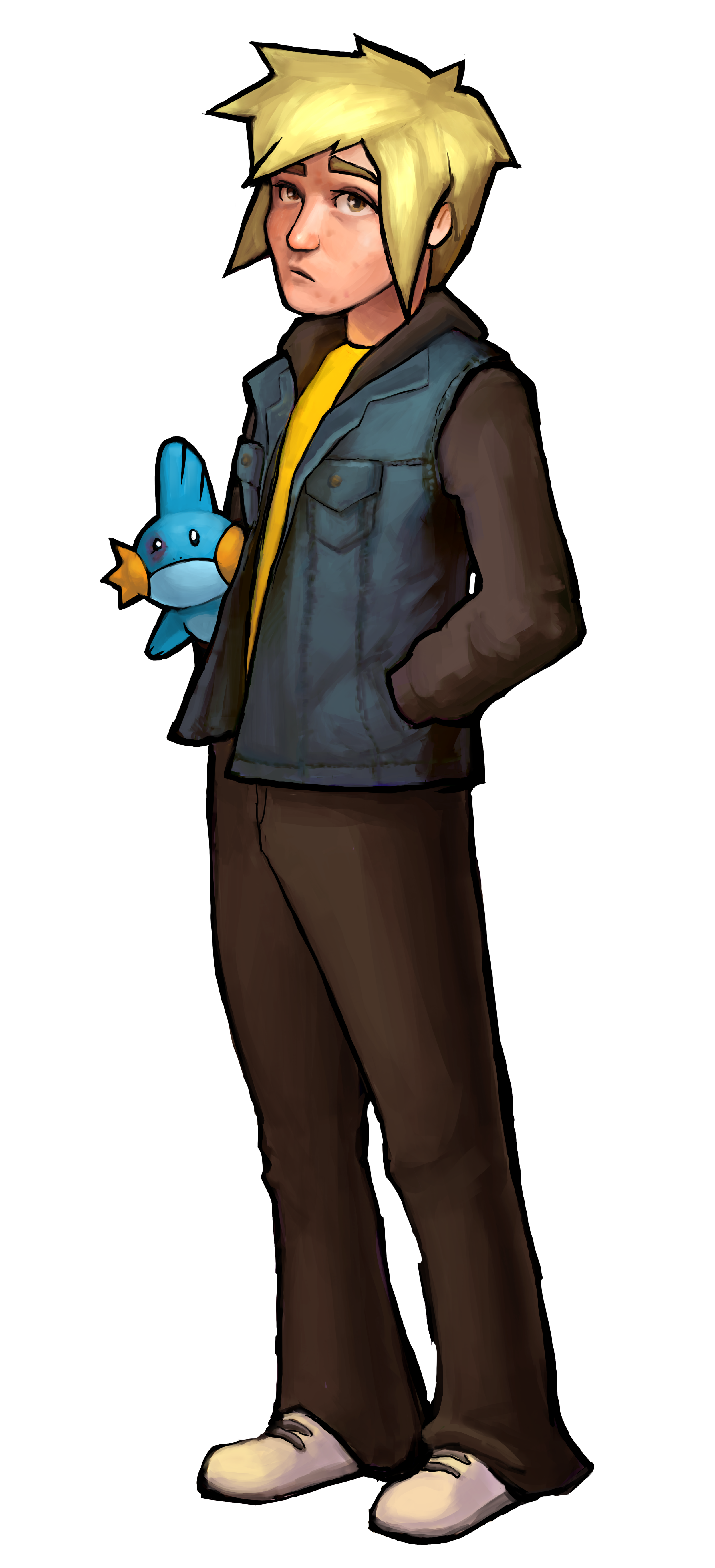 """Xander has blonde hair, a jean jacket, and a yellow t-shirt. He is holding """"Muddy Waters"""", who has a black eye."""