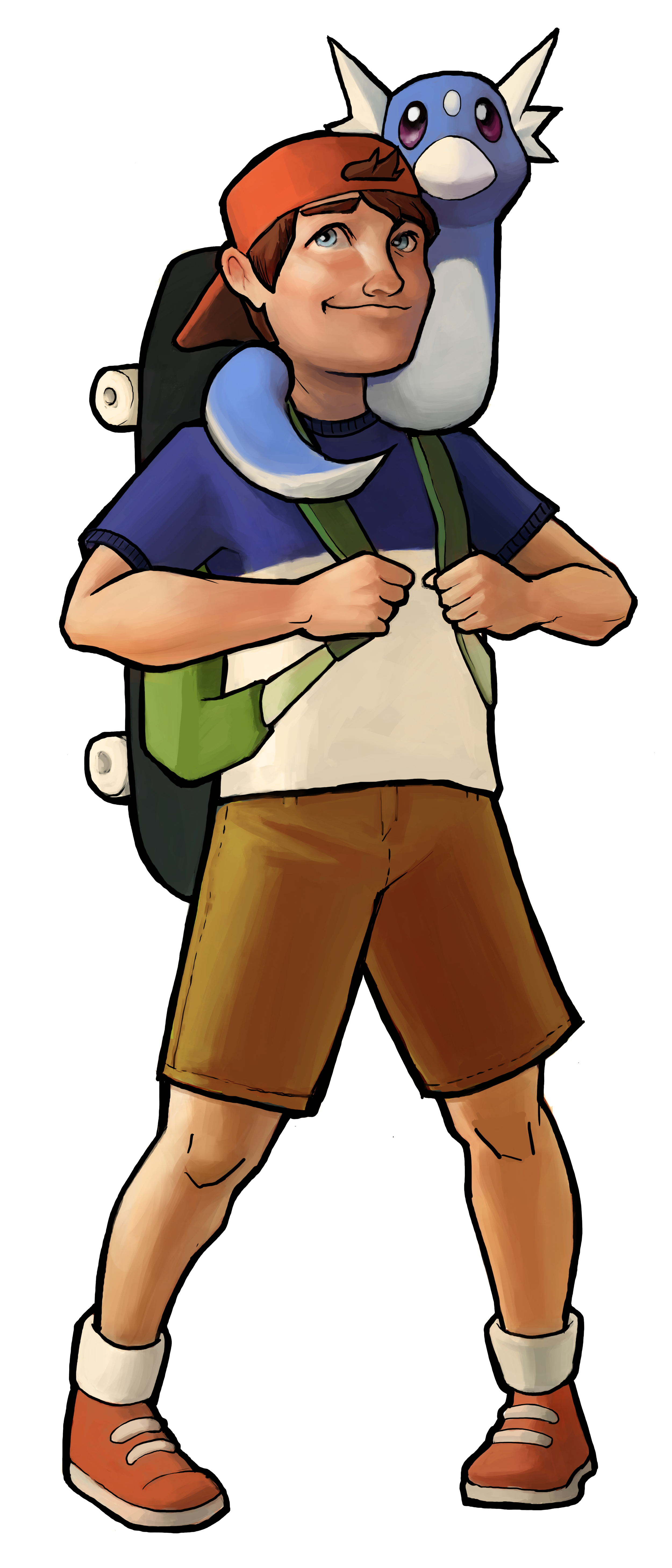 Skip has a backwards hat, a blue t-shirt, khaki shorts, and a skateboard backpack. Dratini is wrapped around his neck.
