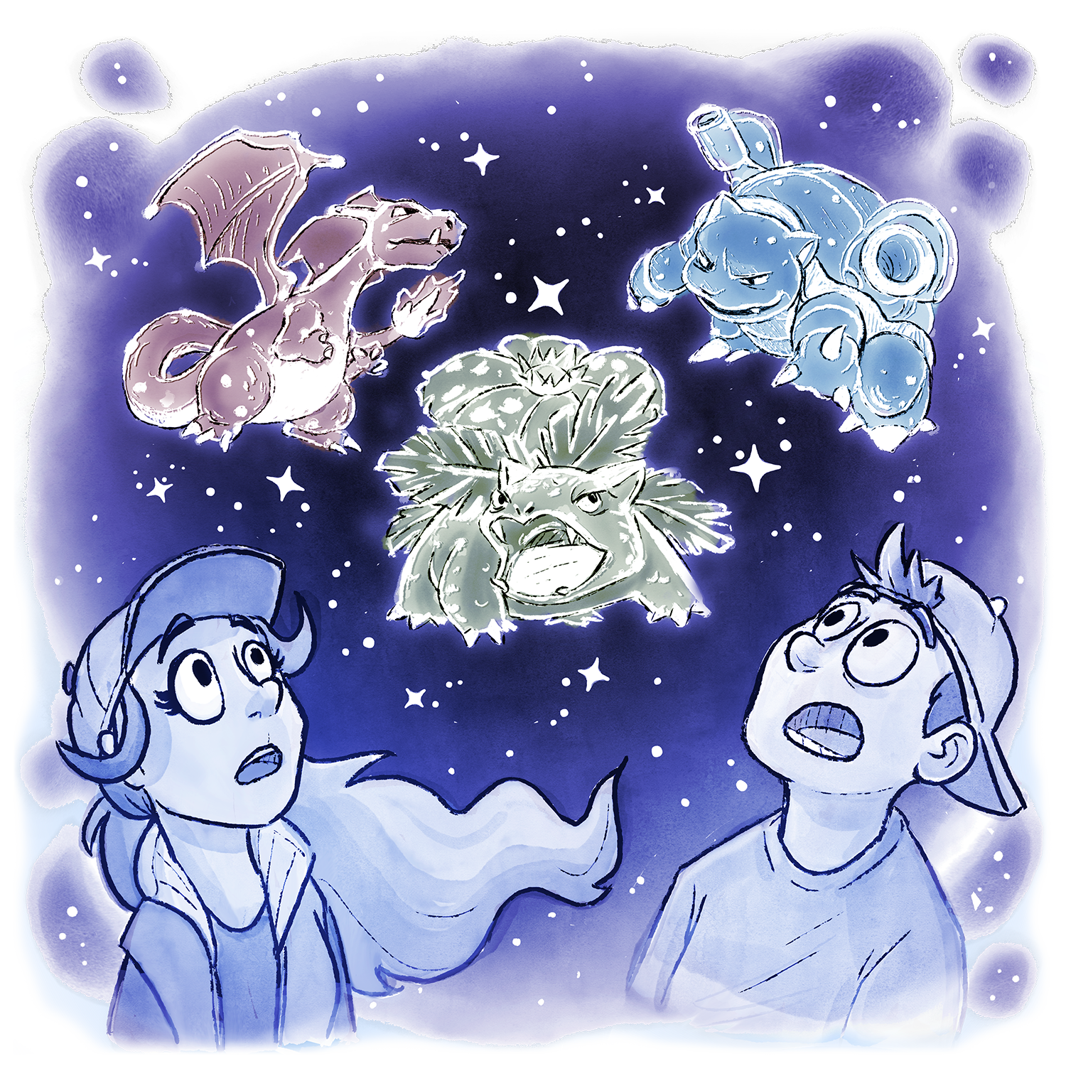 Candace and Skip are looking up at the stars, with Visions of Charizard, Blastoise, and Venasaur appearing like constellations.