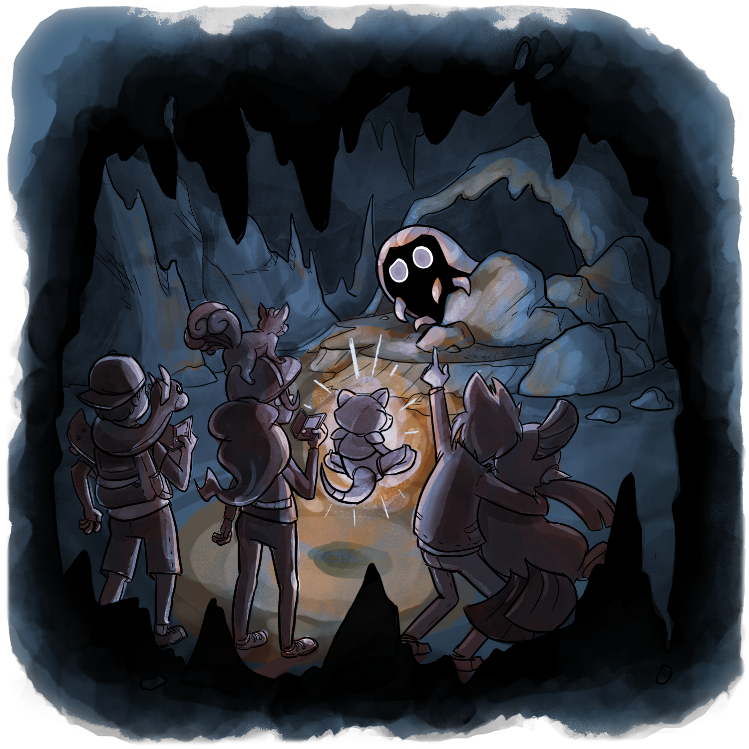 In a dark, creepy cave and illuminated by an Debbie the Abra's light, Skip, Candace, and Xander have discovered a Kabuto crawling out from behind a rock.
