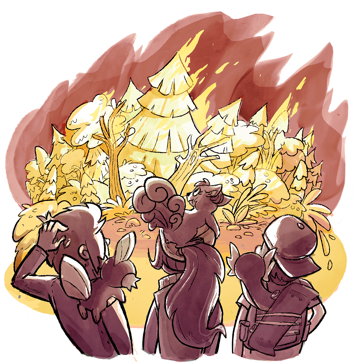 Xander, Candace, and Skip, with their Pokemon on their shoulders, are watching the Viridian Forest Fire they started.