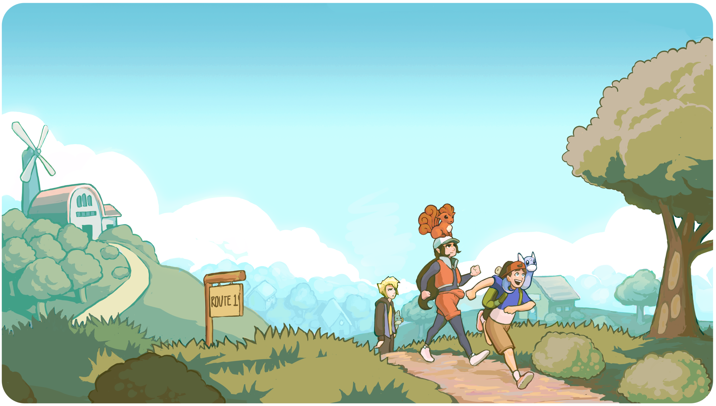 Skip, Candace, and Xander departing Pallet Town onto Route 1. Warm and bright, it is an exciting day.