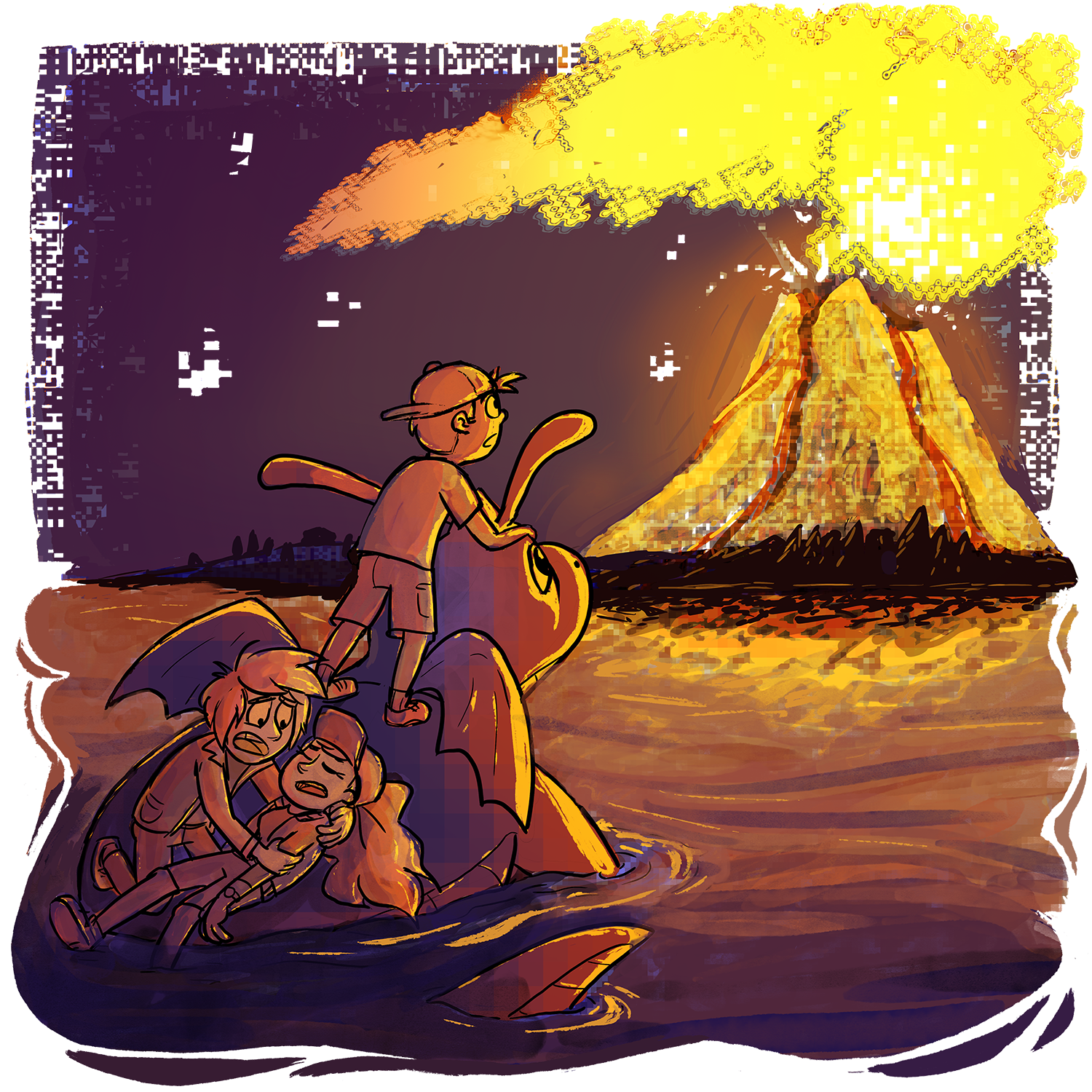 The Volcano at Cinnabar Island is erupting with a huge fiery plume of smoke. There are little glitches and artifacts around the frame, with Skip and Dragonite looking towards the Volcano in awe, and Xander trying to wake up a passed out Candace.