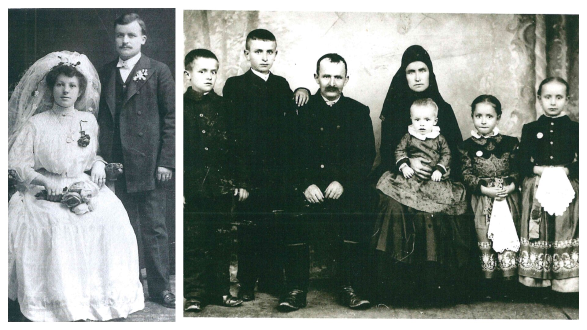 Left: Great grandparents, married after arrival in Chicago; Right: Great great grandparents and their youngest children