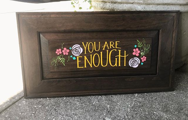In case you didn't know... you are enough. 💕 #availableinmystore #imakethings #handmade #chalkcouture #youareenough #lovethis #perfectreminderformyself #heypennyboutique #shoplocal #junctioncityoregon #recycledcabinetdoor #supportsmallbusiness