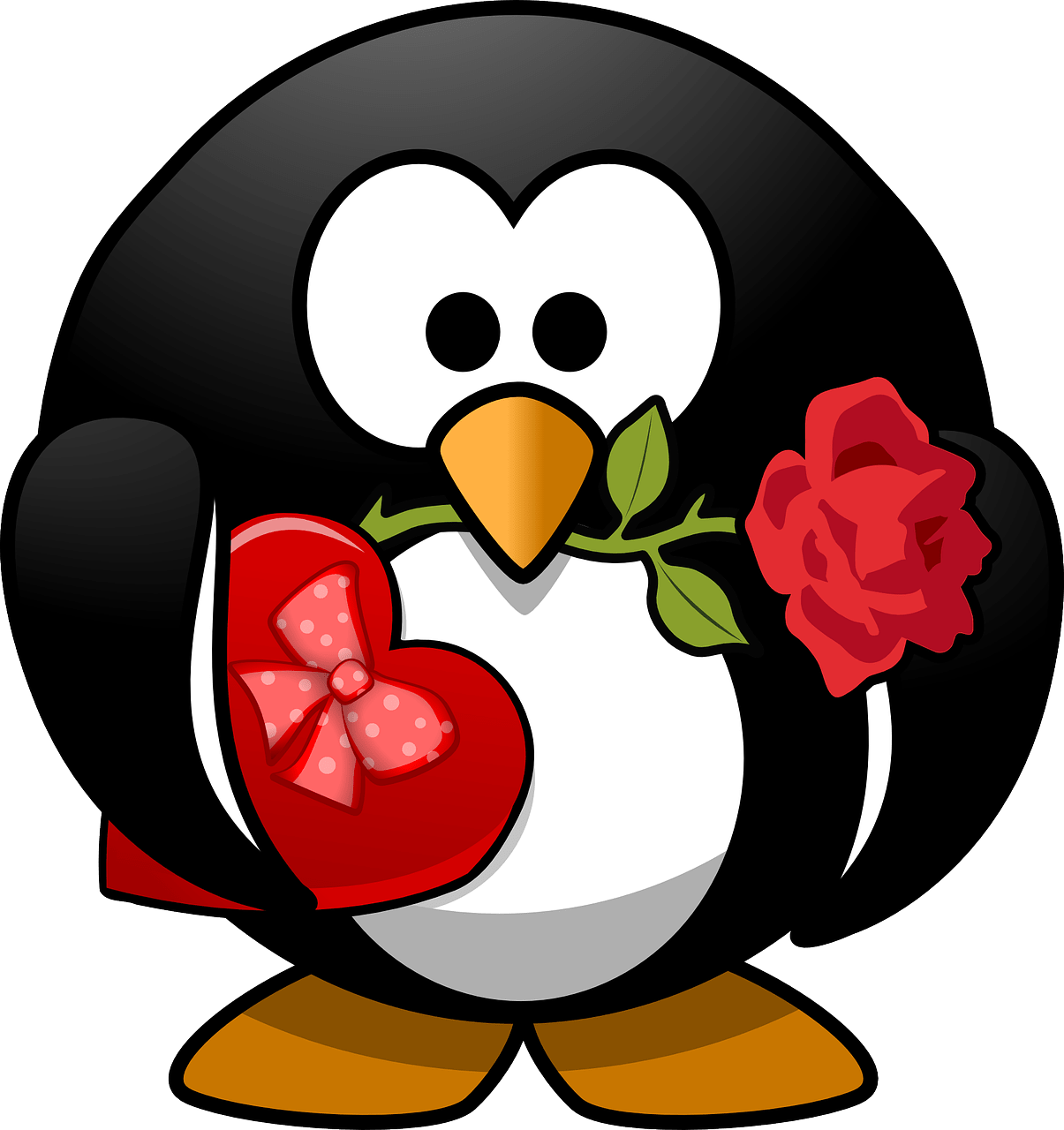 Penguin holding chocolate and a flower.