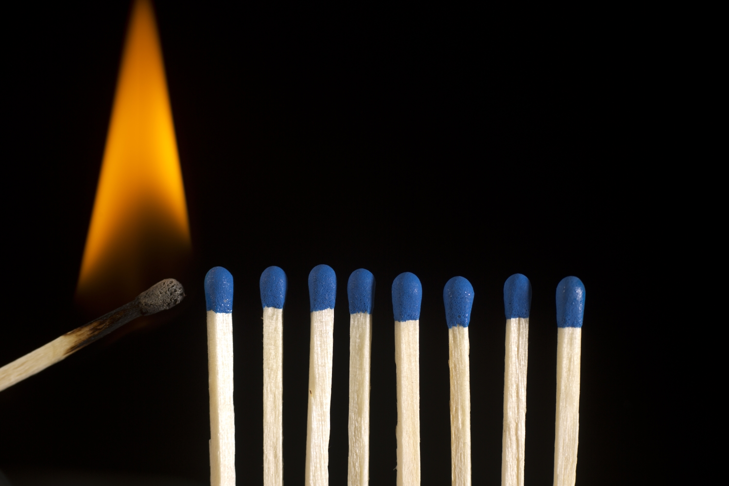 Matches In Row Ready To Burn