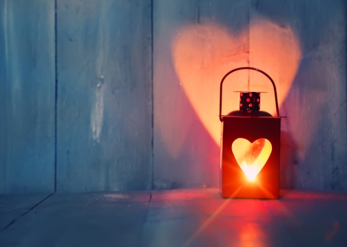 Heart lantern with light from center