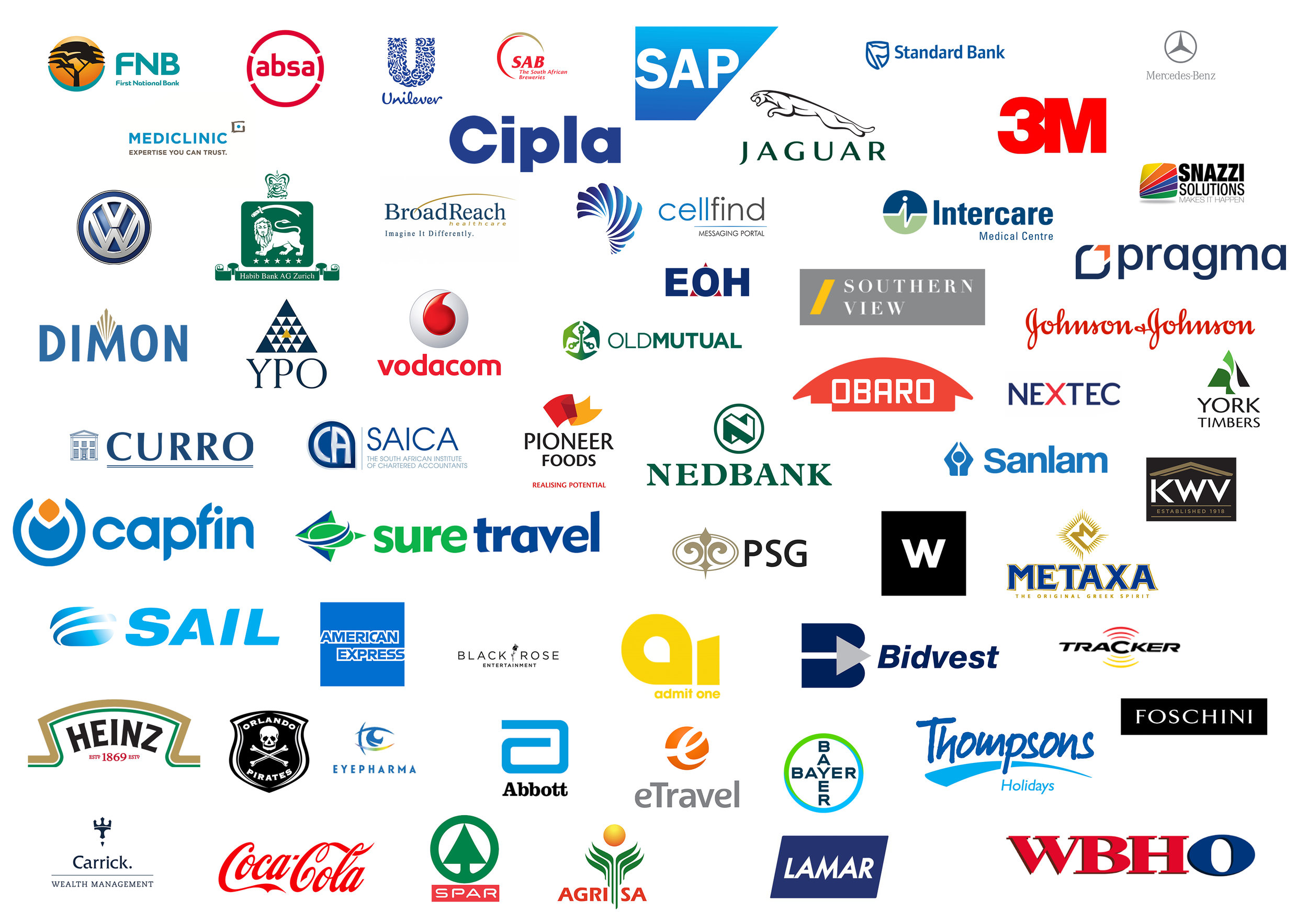 Image with various brand logos that Hein has worked with, including SAP, VW, Jaguar, Vodacom, Metaxa, to name a few.