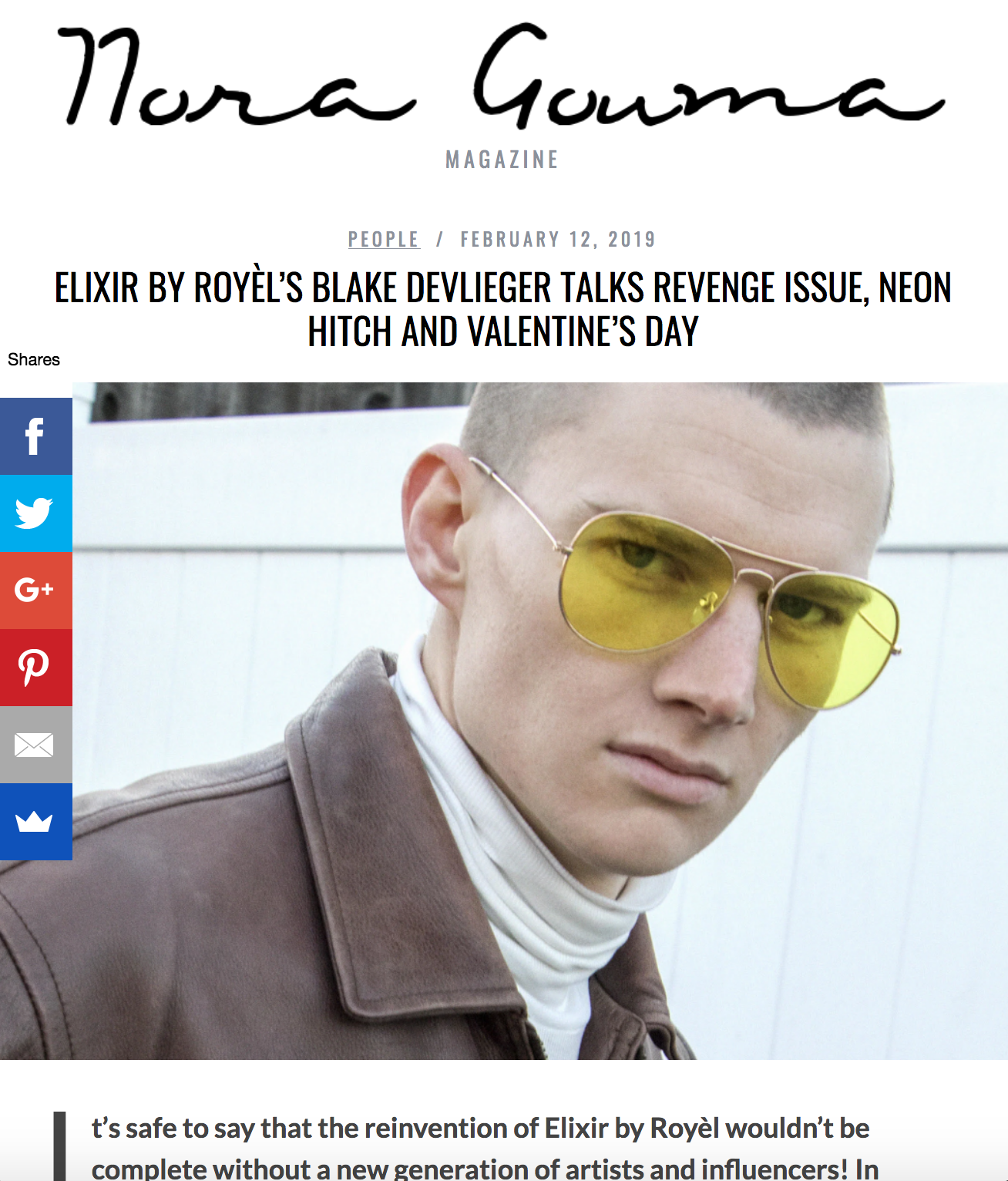 ELIXIR BY ROYÈL'S BLAKE DEVLIEGER TALKS REVENGE ISSUE, NEON HITCH AND VALENTINE'S DAY - It's safe to say that the reinvention of Elixir by Royèl wouldn't be complete without a new generation of artists and influencers! In February, Mitchell Royèl announced that he would be casting up to 50 social media influencers and artists to be featured in the next issue of his magazine. We got a chance to interview one of the latest additions to the Elixir by Royèl family, model and influencer Blake DeVieger.