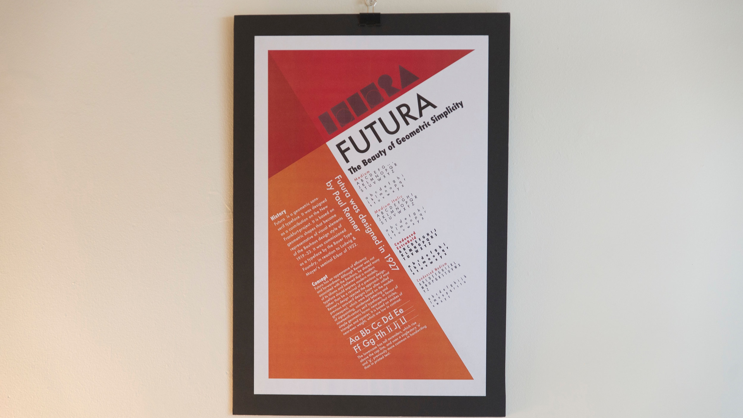 Specimen poster design - Specimen poster for the typeface Futura.