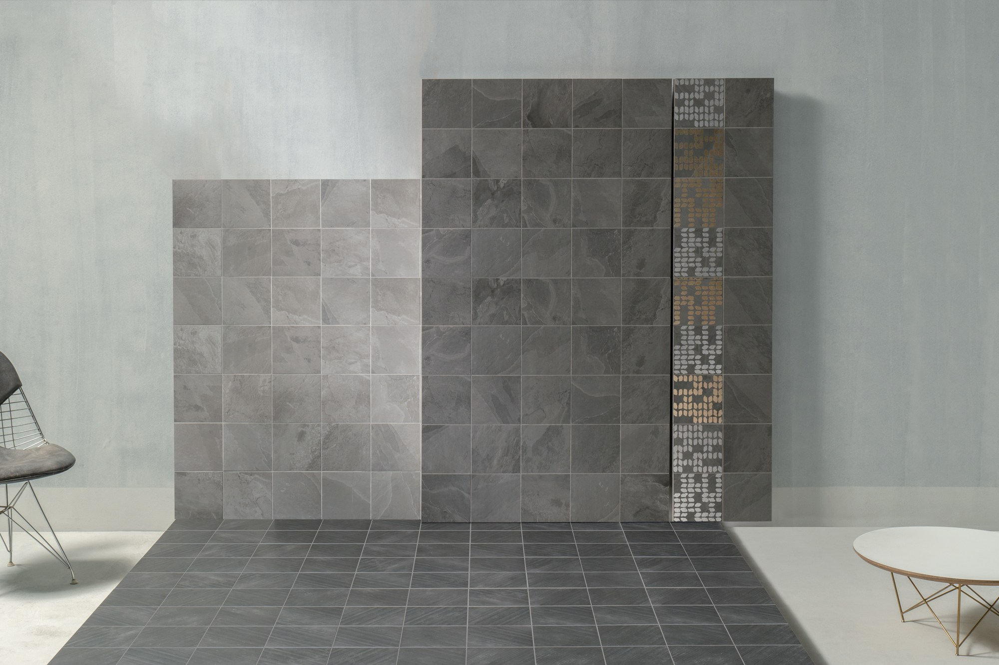 Supre in pearl and grey slate with metallic feature tile.