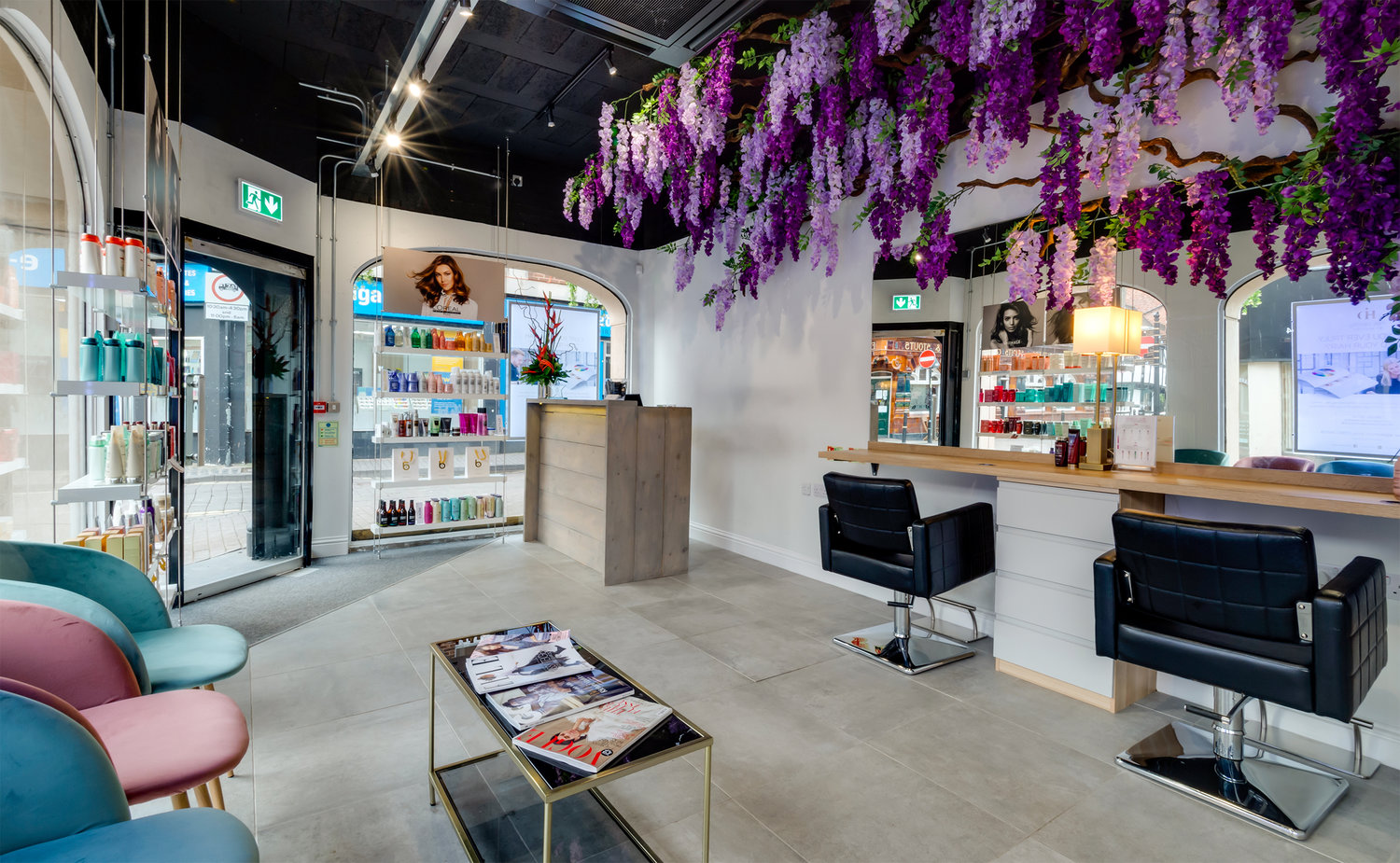 Blushes Hair Salon, Worcester… - Our Raw range of porcelain tiles in Dust colour and 60x60cm size used in this luxury hair salon.