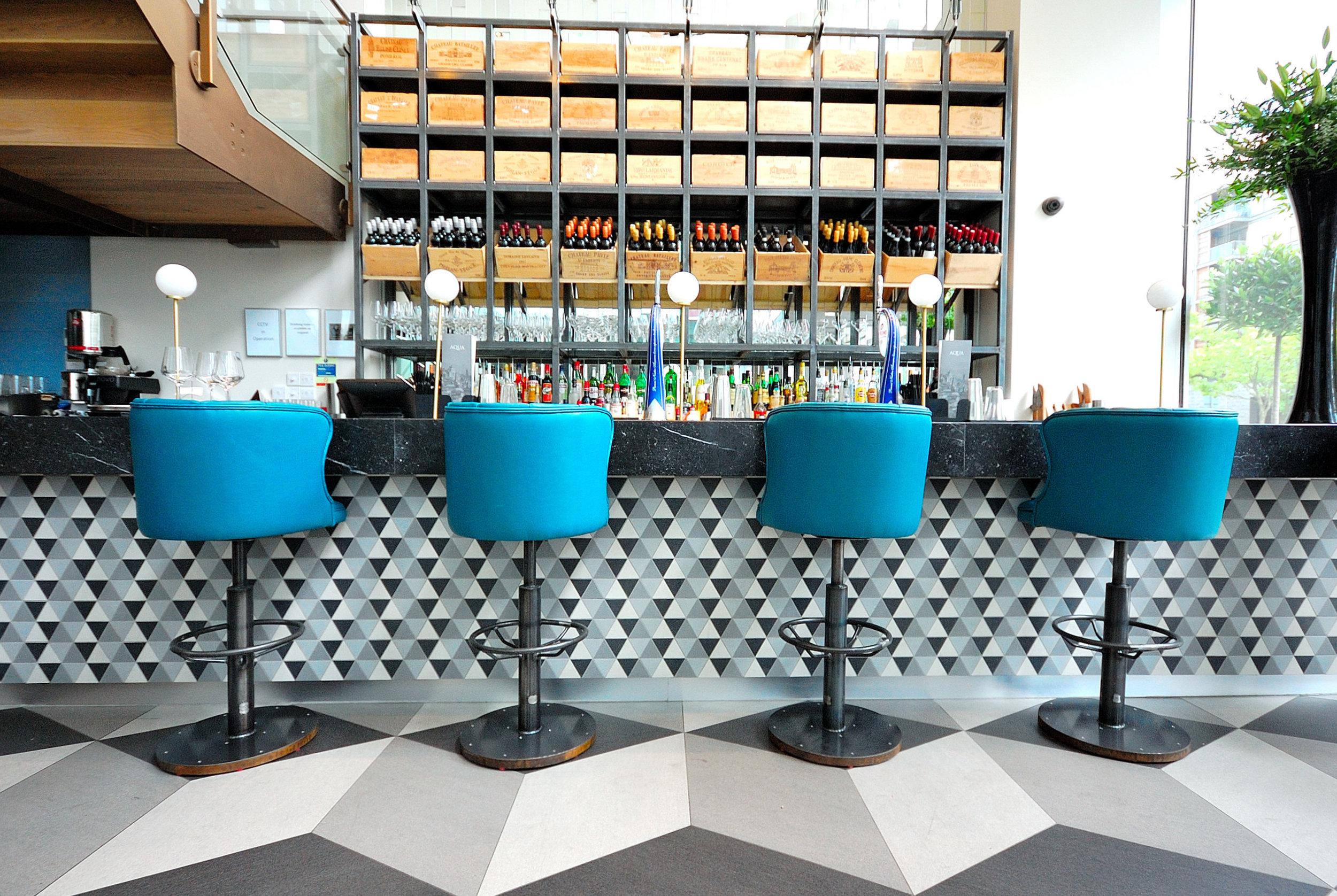 Aqua, Milton Keynes… - We sourced and supplied these slimtech porcelain tiles for this unique design.