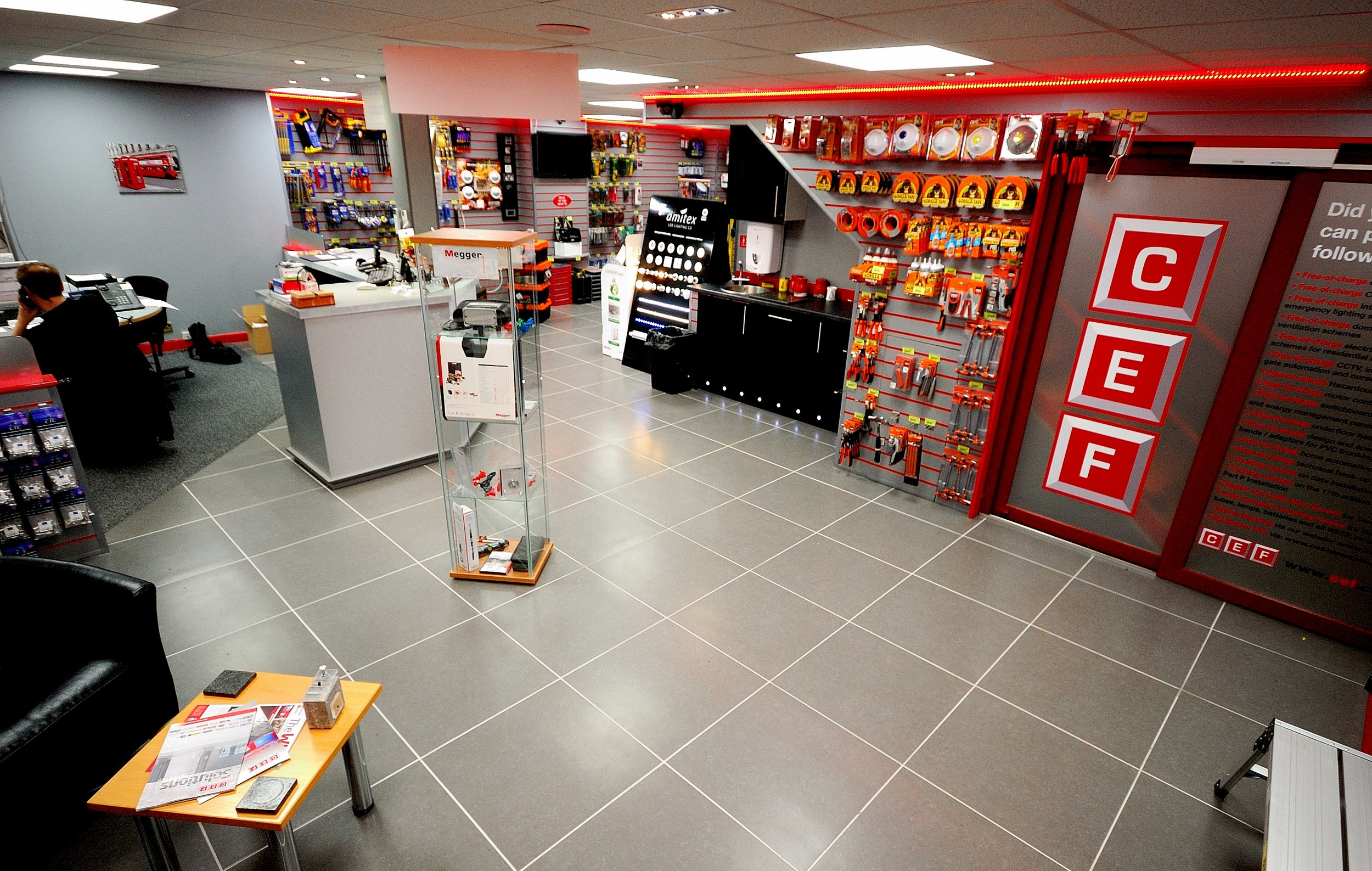 CEF, Electrical wholesaler, Sutton Coldfield. - Commercial grade porcelain tiles in this trade electrical supplier near Birmingham.