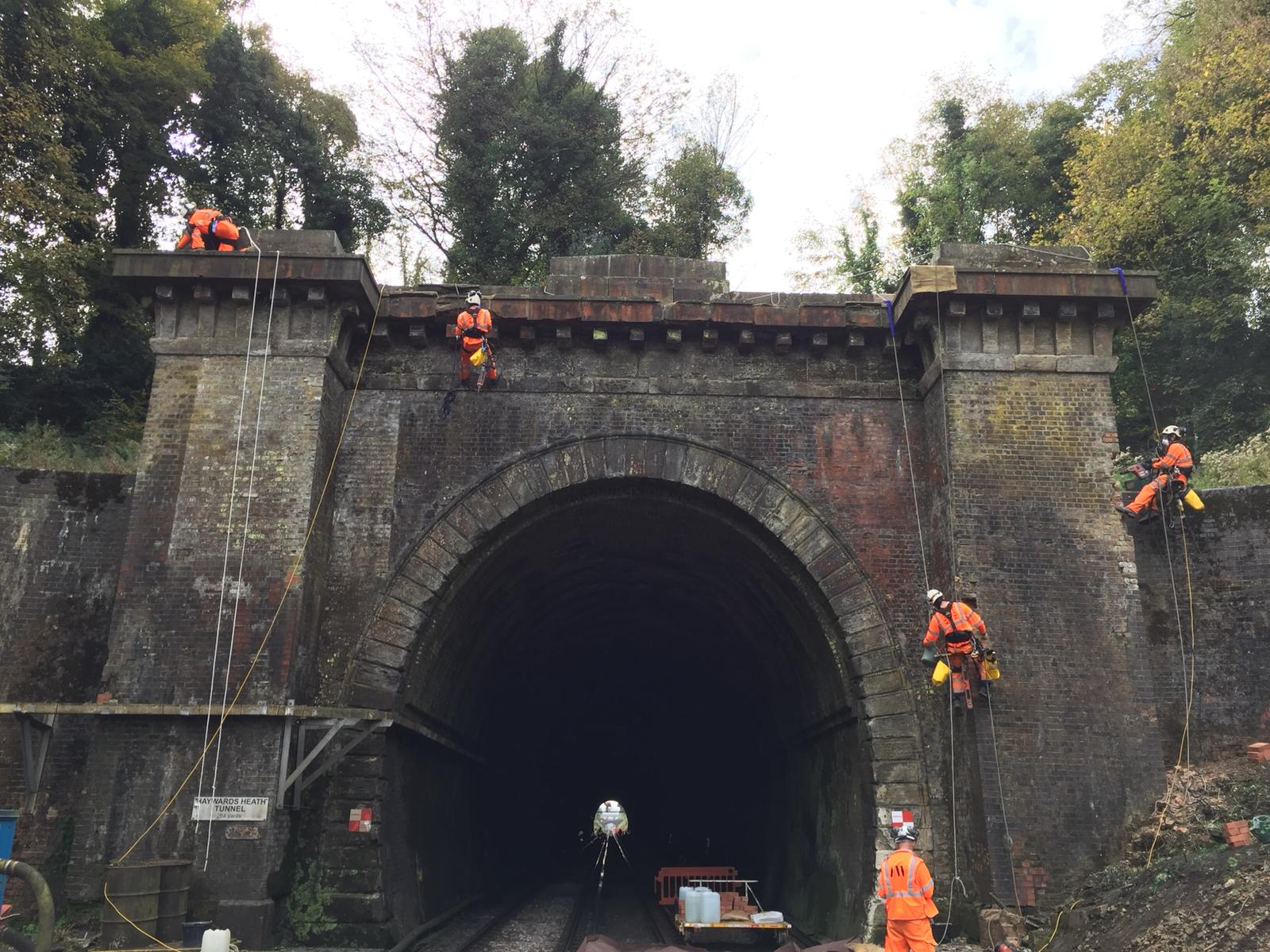 Railway Tunnel Portal  Repointing  and Spot Brick Replacement