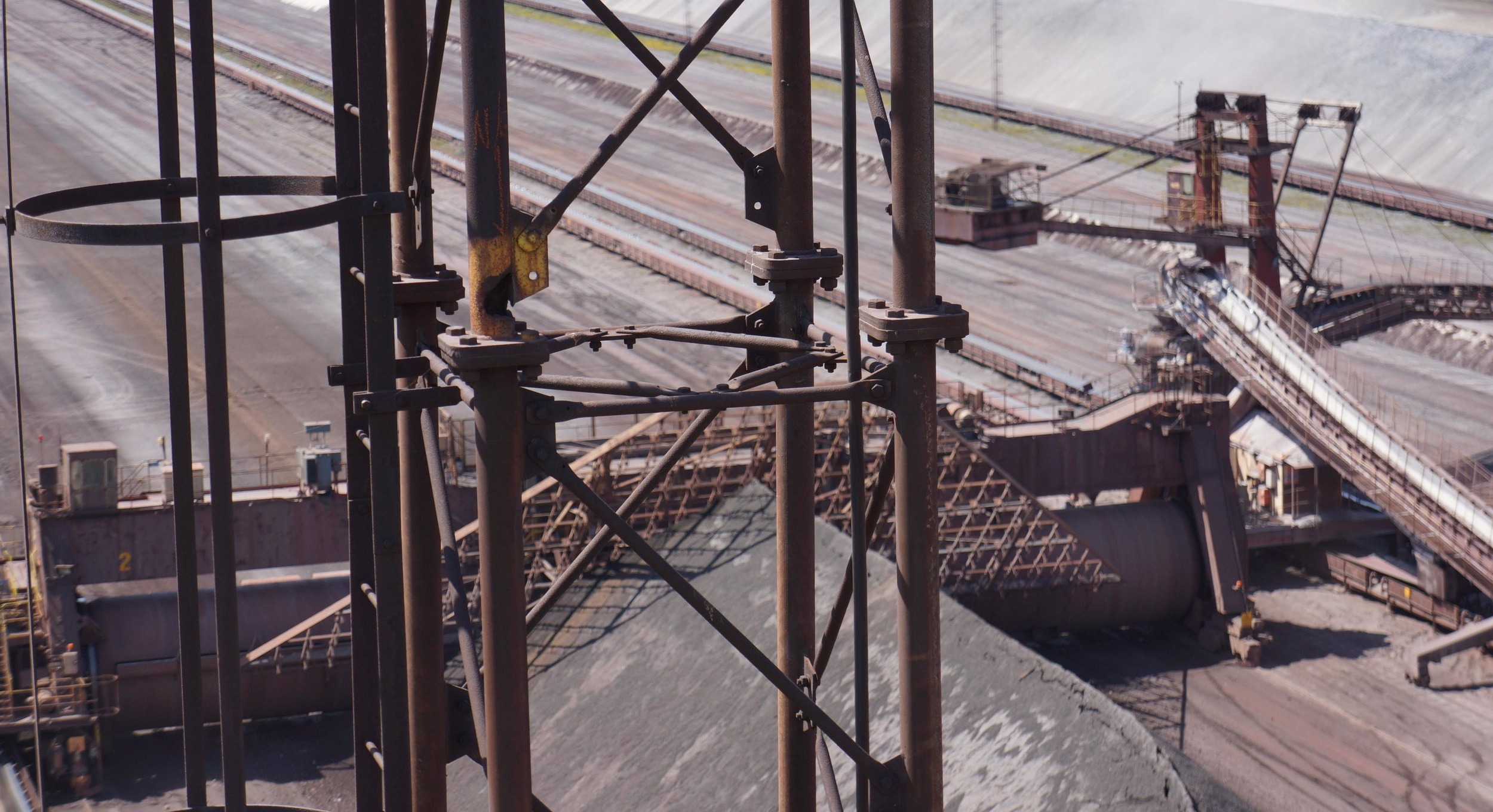Drone survey of steelwork lighting tower