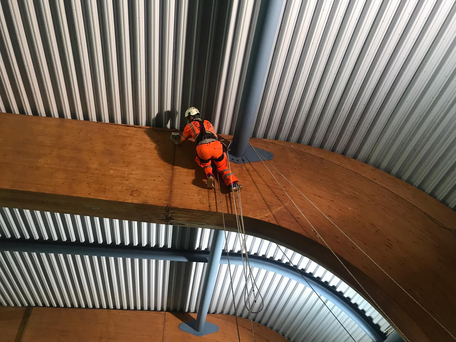 Glulam Beam Fracture Inspection and Monitoring