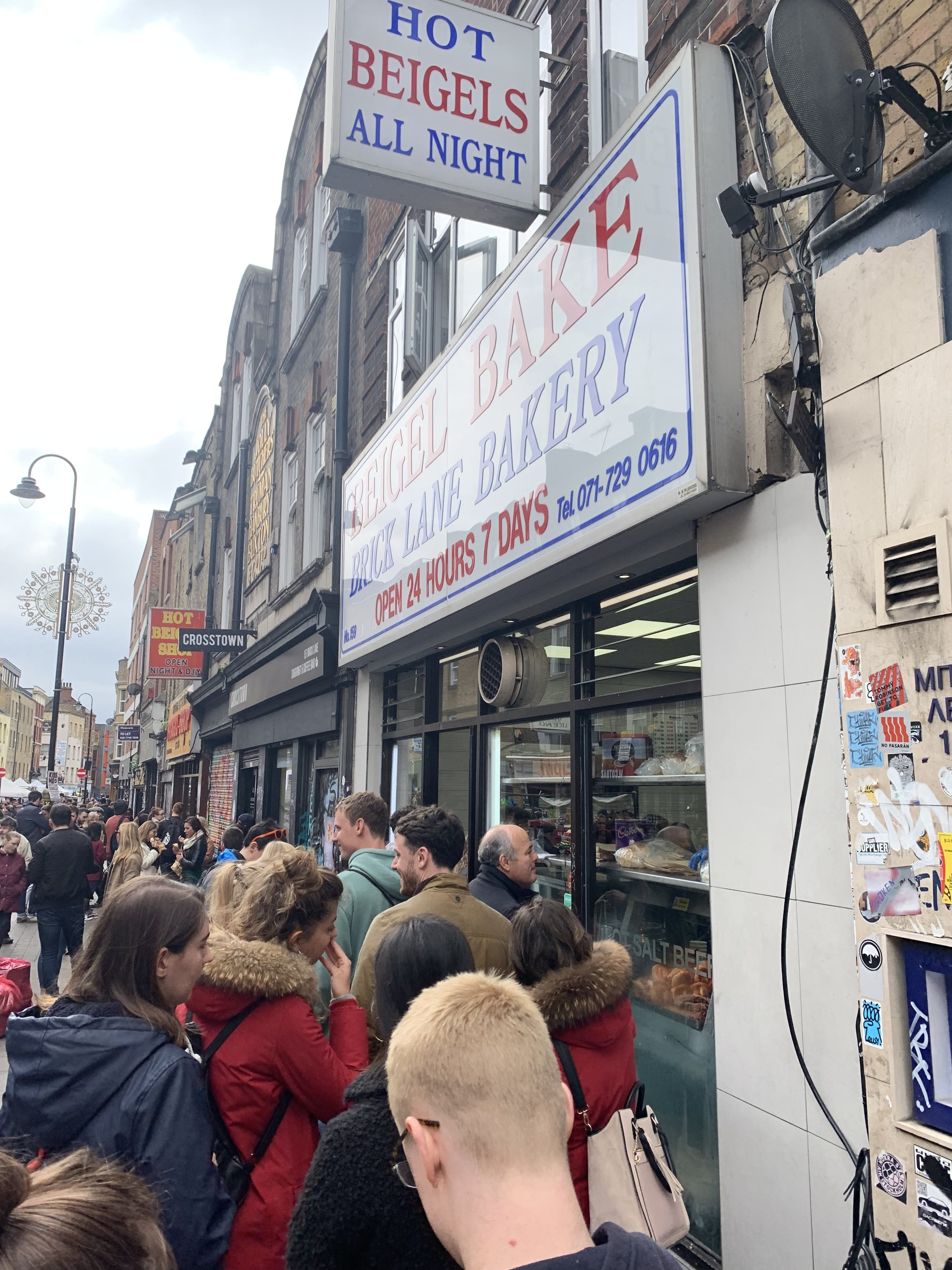 The queue for Bagel Bake - and it's a 24 hour joint too!