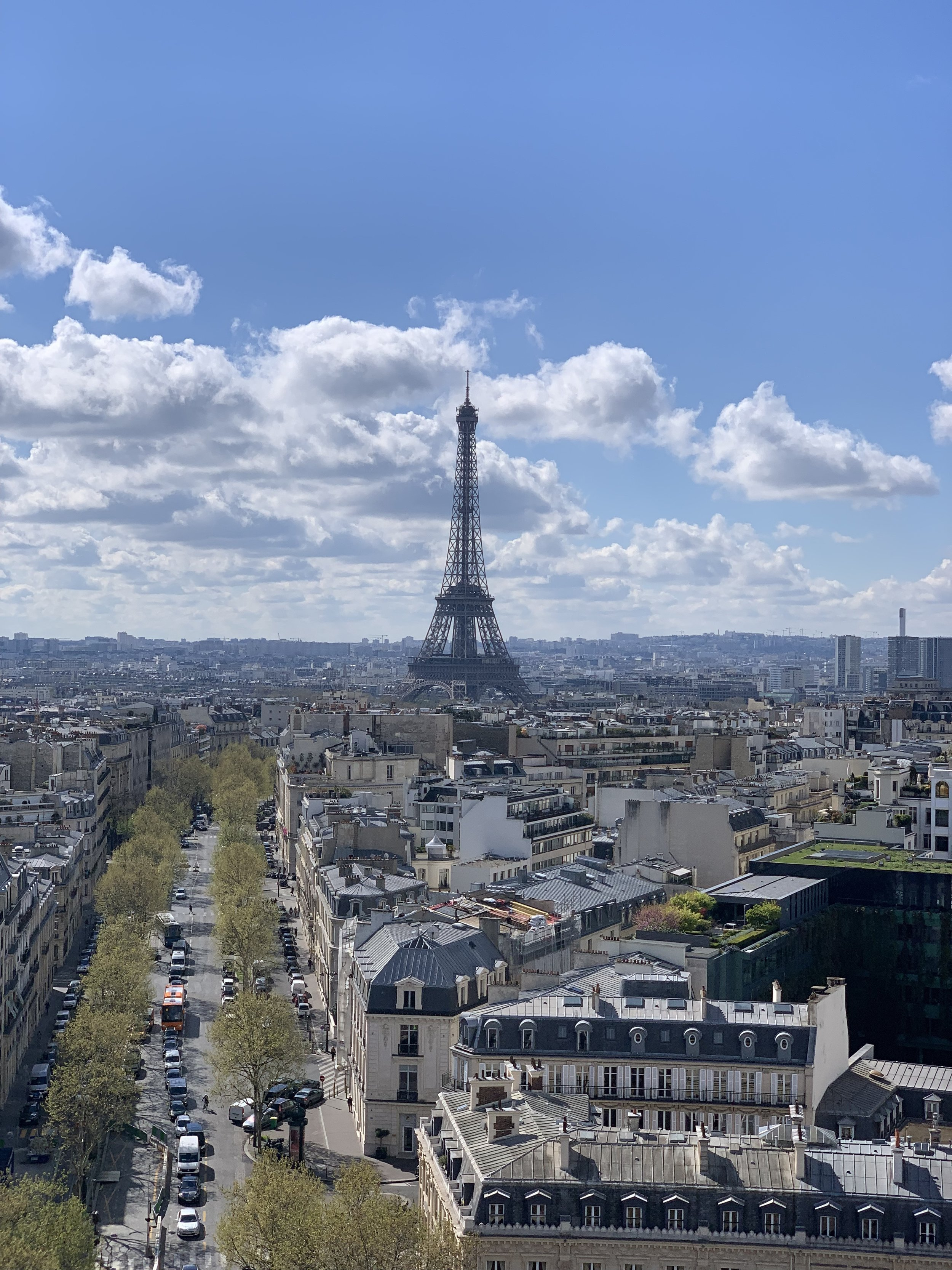 View of the Eiffel Tower, from the top of the Arc De Triomphe