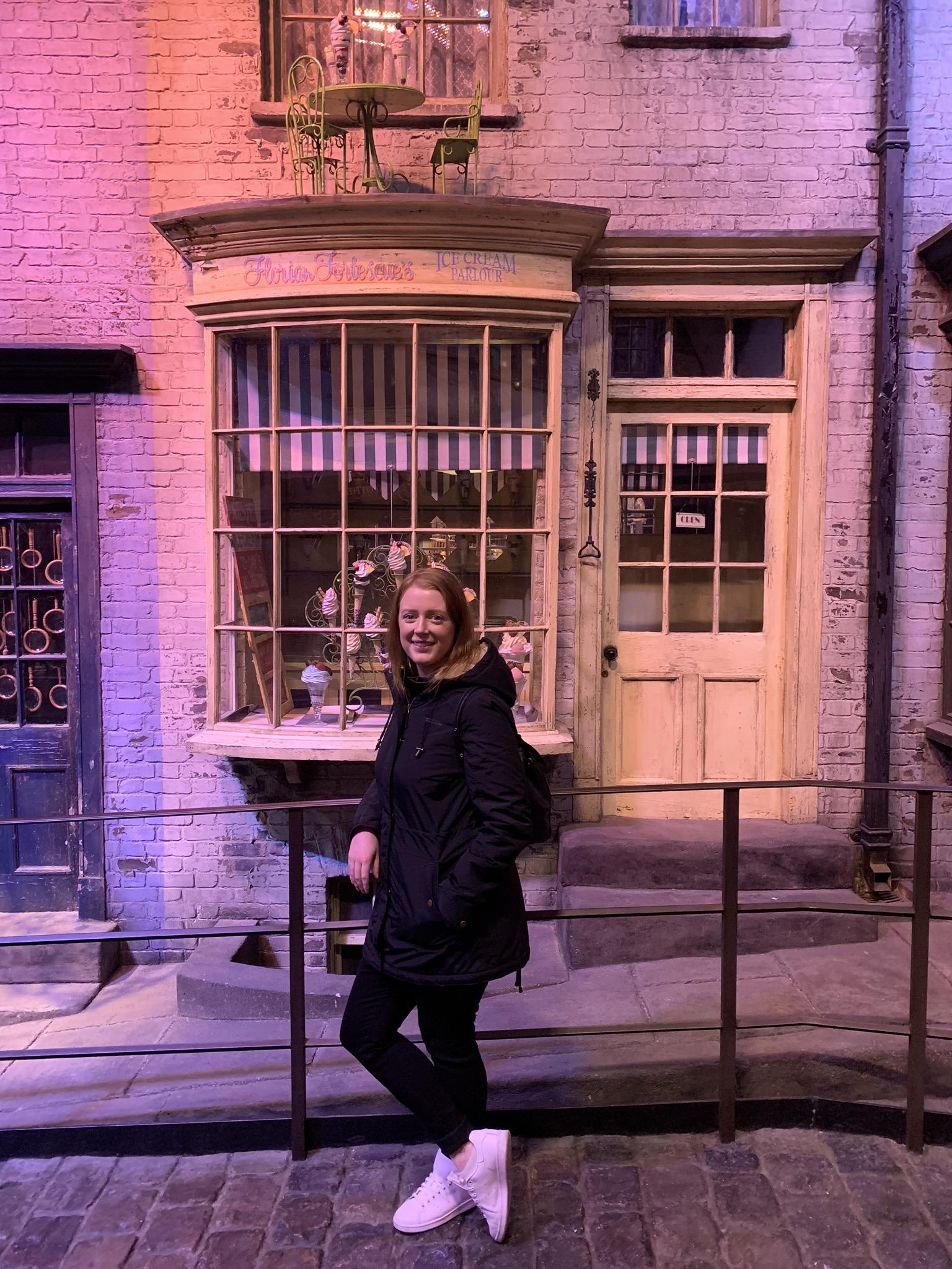 Ash on the Diagon Alley set