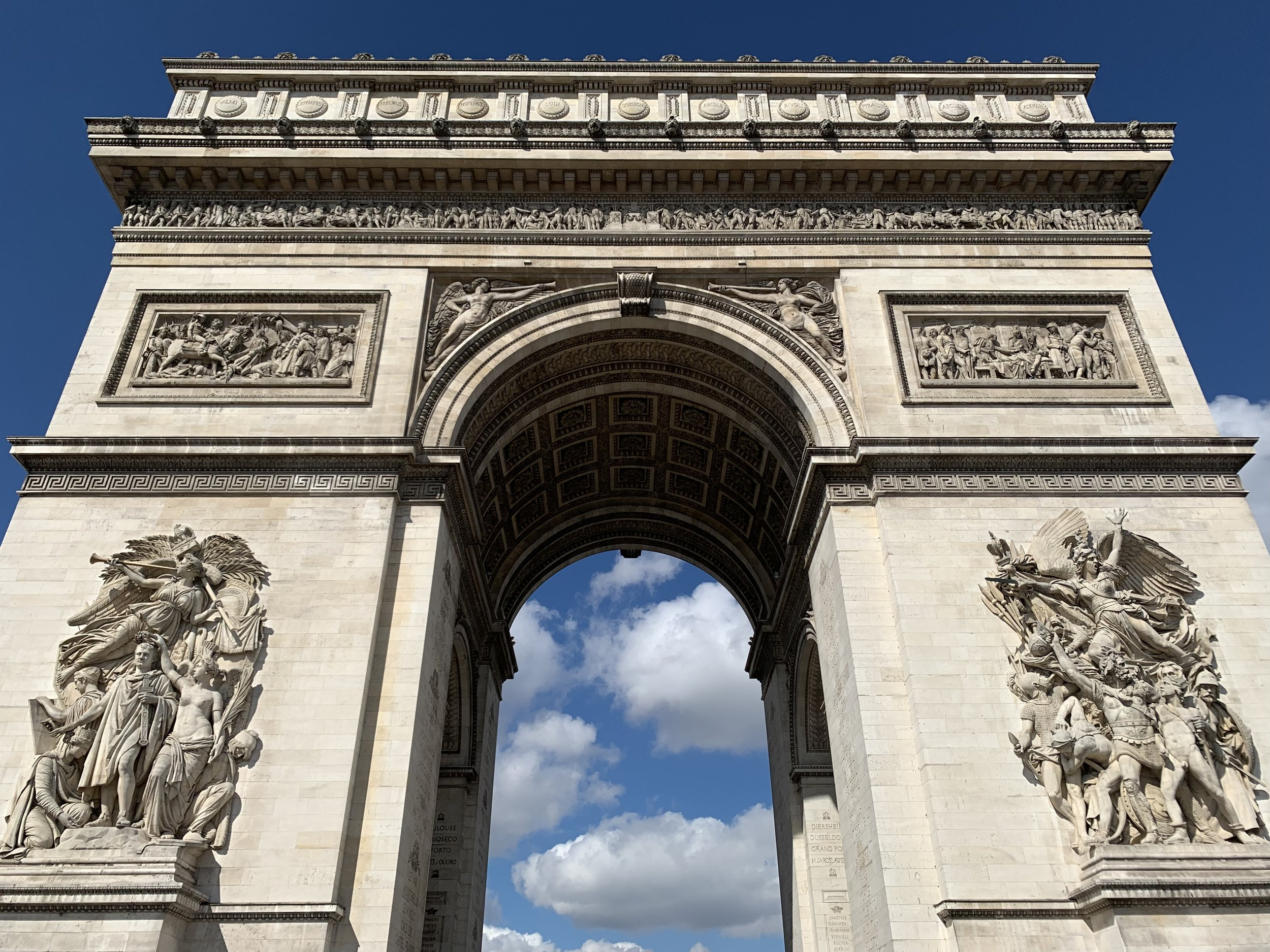 Looking up from the foot of the Arc De Triumphe