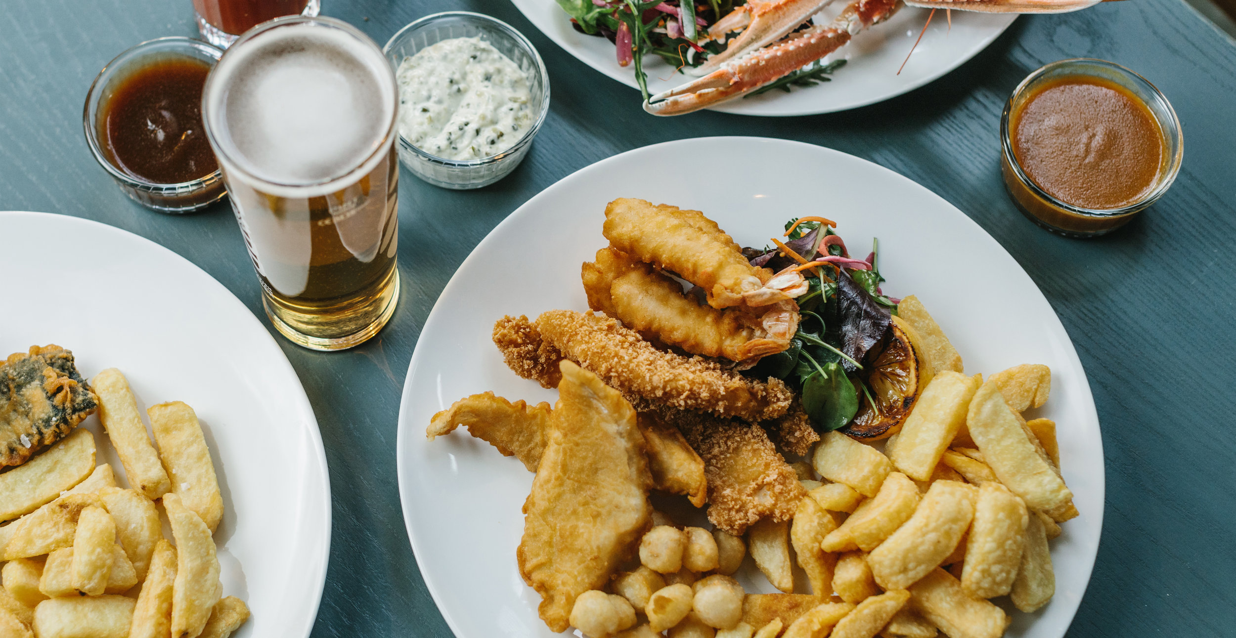 Main Menu - Real Fish & Chips to smoked haddock fishcakes, and a range of non-seafood options such as Bannerman Butcher's Burger and Mac & Cheese.