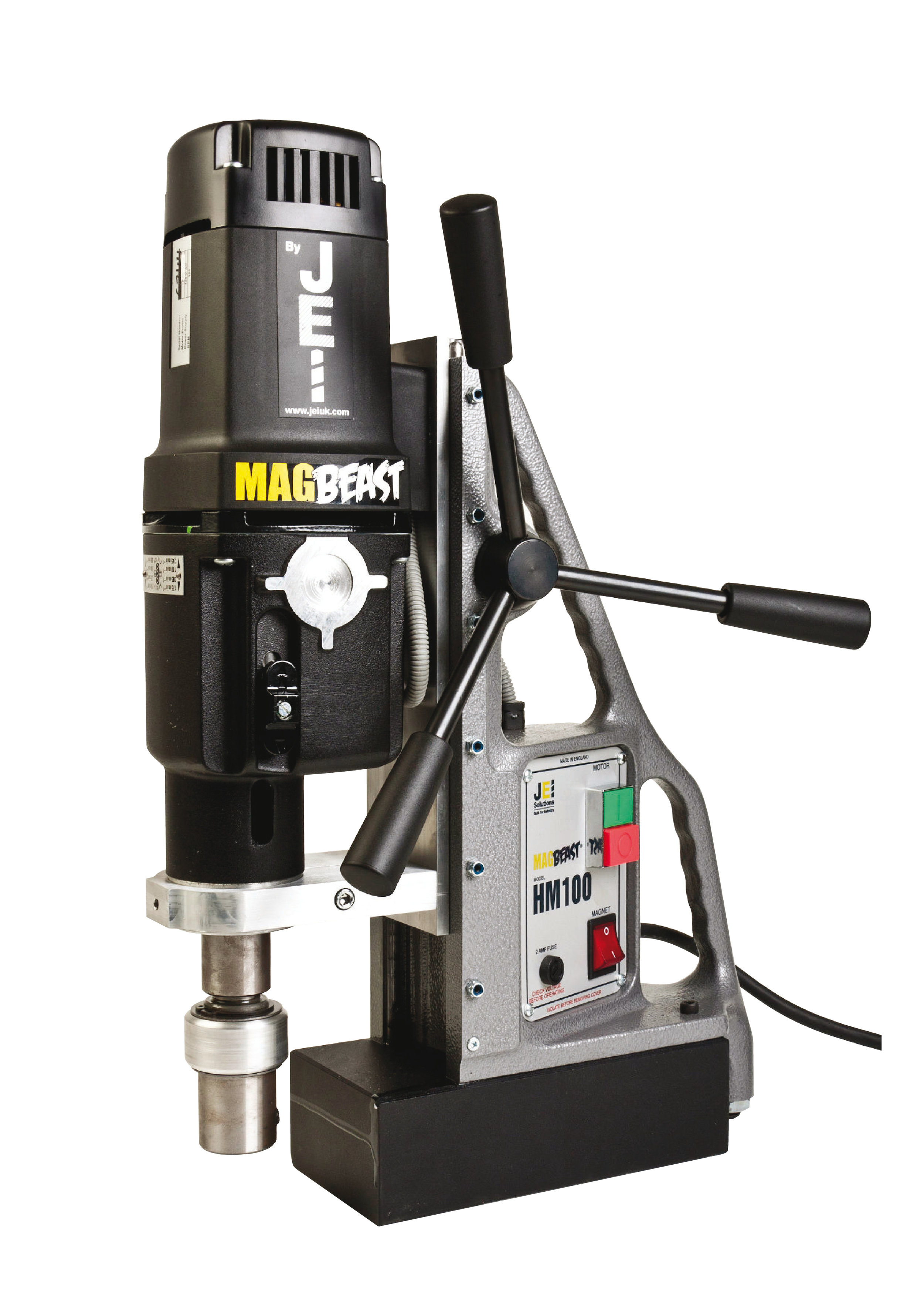 HM100 MAGNETIC DRILL - Heavy duty 1800 watt motor (HM100T) - Enables larger cutting capacity.Weighs on 20kgs and 100mm cutter capacity - Unrivalled weight to cutting capacity ratio.4 speed gear box (or 2 speed variable - HM100T) - Ideal for a wide selection of cutting operations.250mm total drill travel - Facility to use 150mm (6