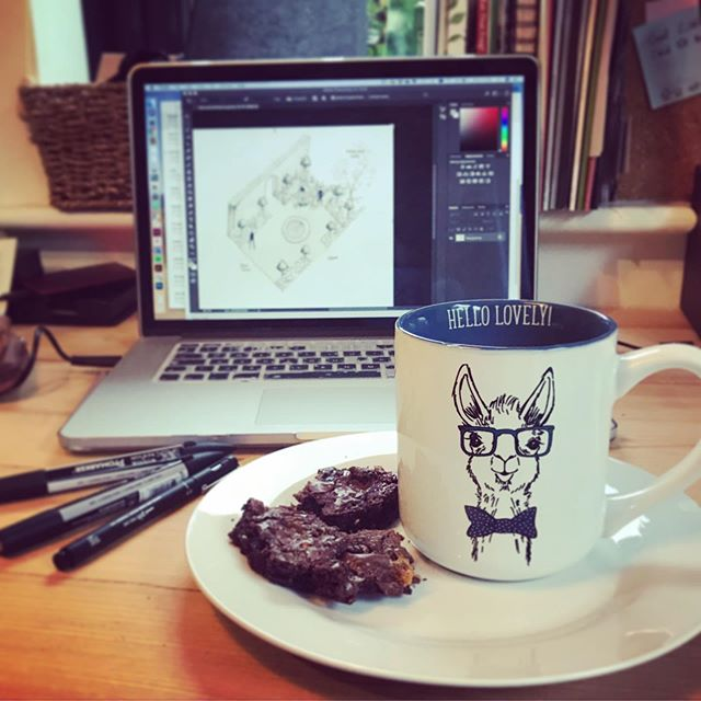 The rain won't keep us from having a lovely day designing, drawing and eating the Technical Directors homemade gluten-free Daim Brownies 😋 @dangerbrownesq . . . . . #studiobrio #gardendesign #garden #parterre #brownies #homemade #glutenfree #hellolovely #llama #drawing #promarker #design #rye #workfromhome #dowhatyoulove #lovewhatyoudo #rainyday #photoshop #adobe