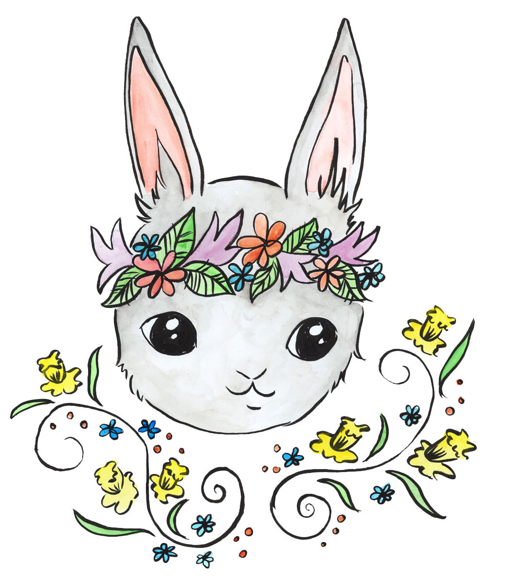 Grey Rabbit with Daffodils