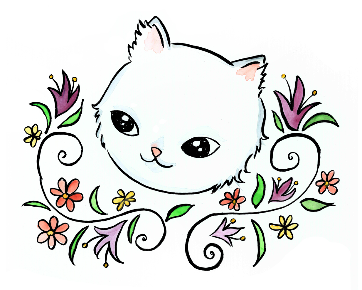 White Cat with Lillies