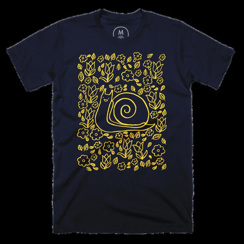 Snail Garden Shirt in Navy Blue for Cotton Bureau