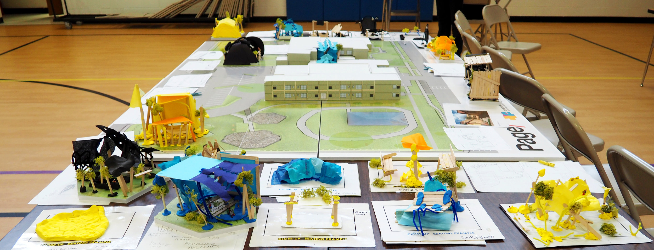 Blackshear students worked collaboratively in teams to propose solutions to stage, seating, and shade. Alterstudio and Page architects created a scaled foamcore model of the schoolyard to help students envision their solutions in place.