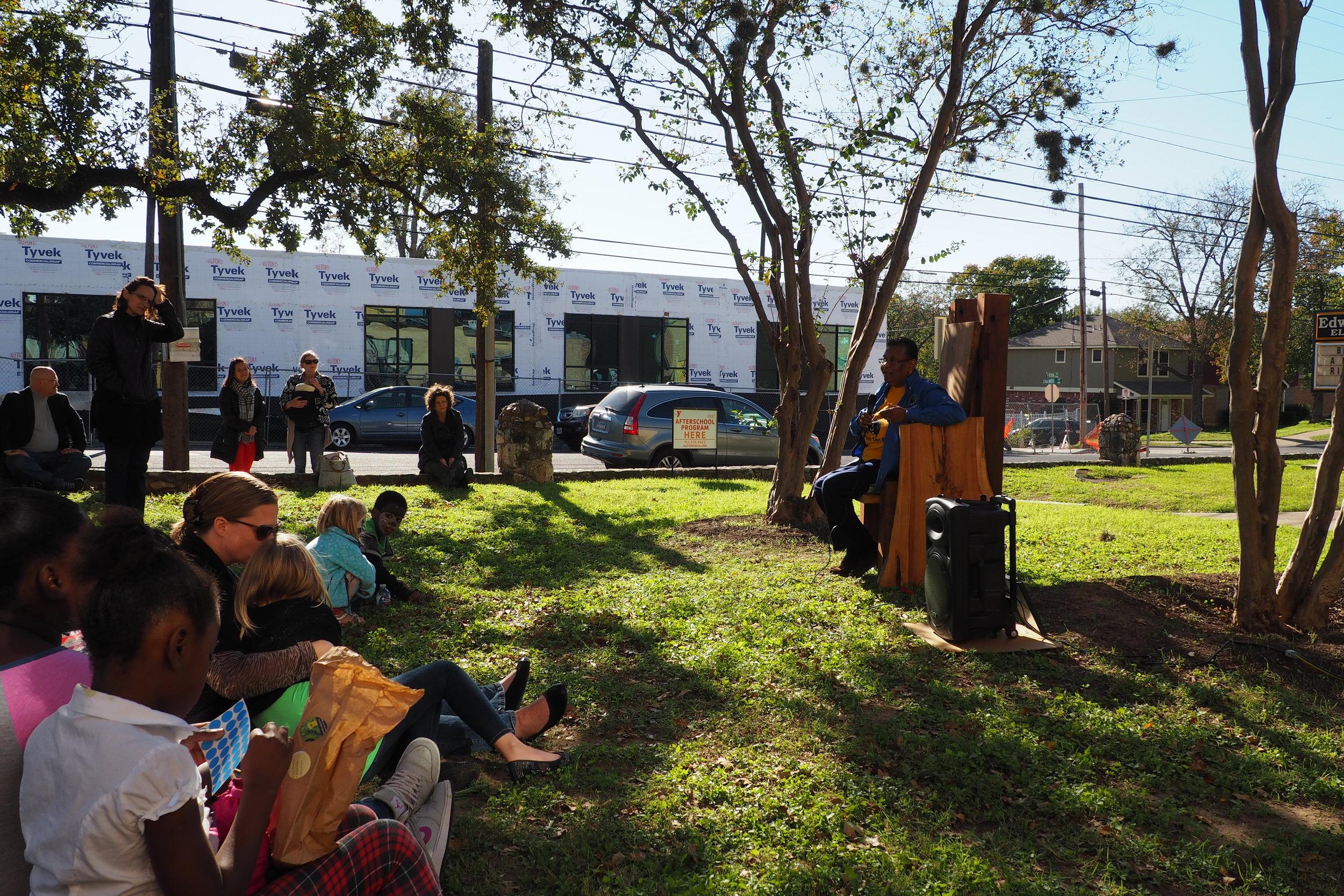 Ms. Rice, daughter of former Blackshear Principal Friendly Rice and Blackshear alumna, shares stories of her memories of Blackshear during the inaugural reading at Little East.