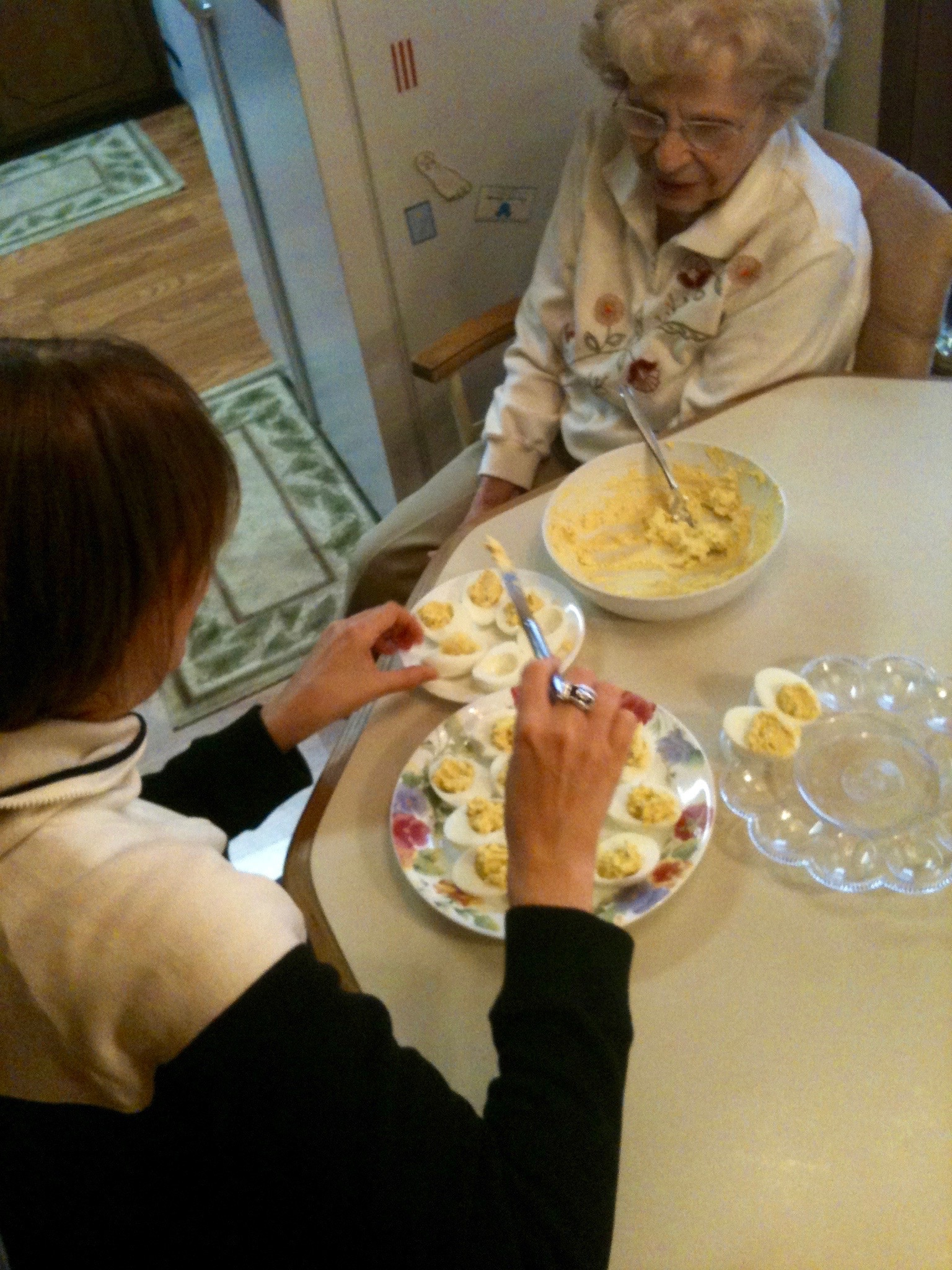 Me and Mommie making deviled eggs.